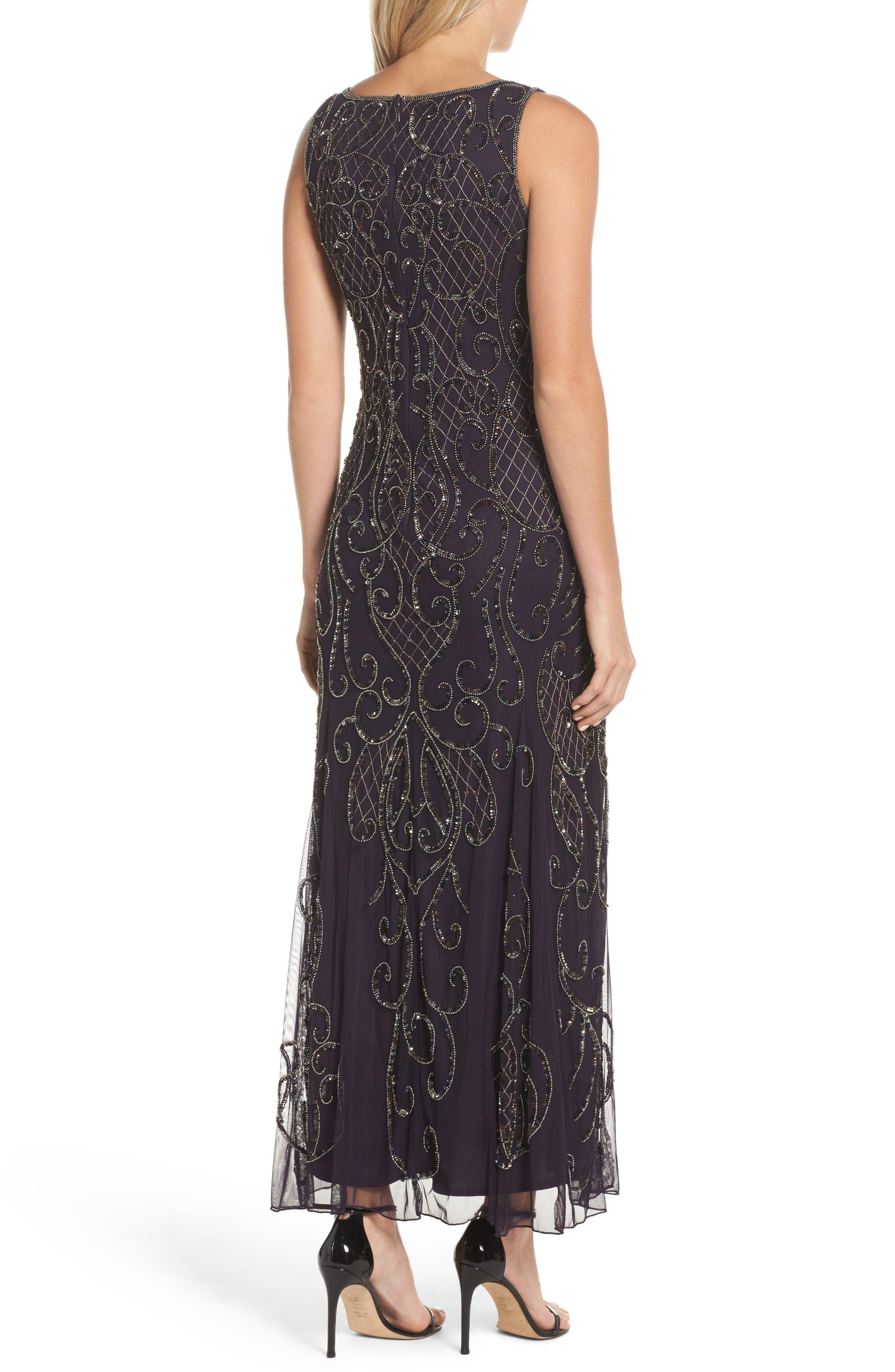 Embellished V-Neck Gown,                             Alternate thumbnail 2, color,                             502