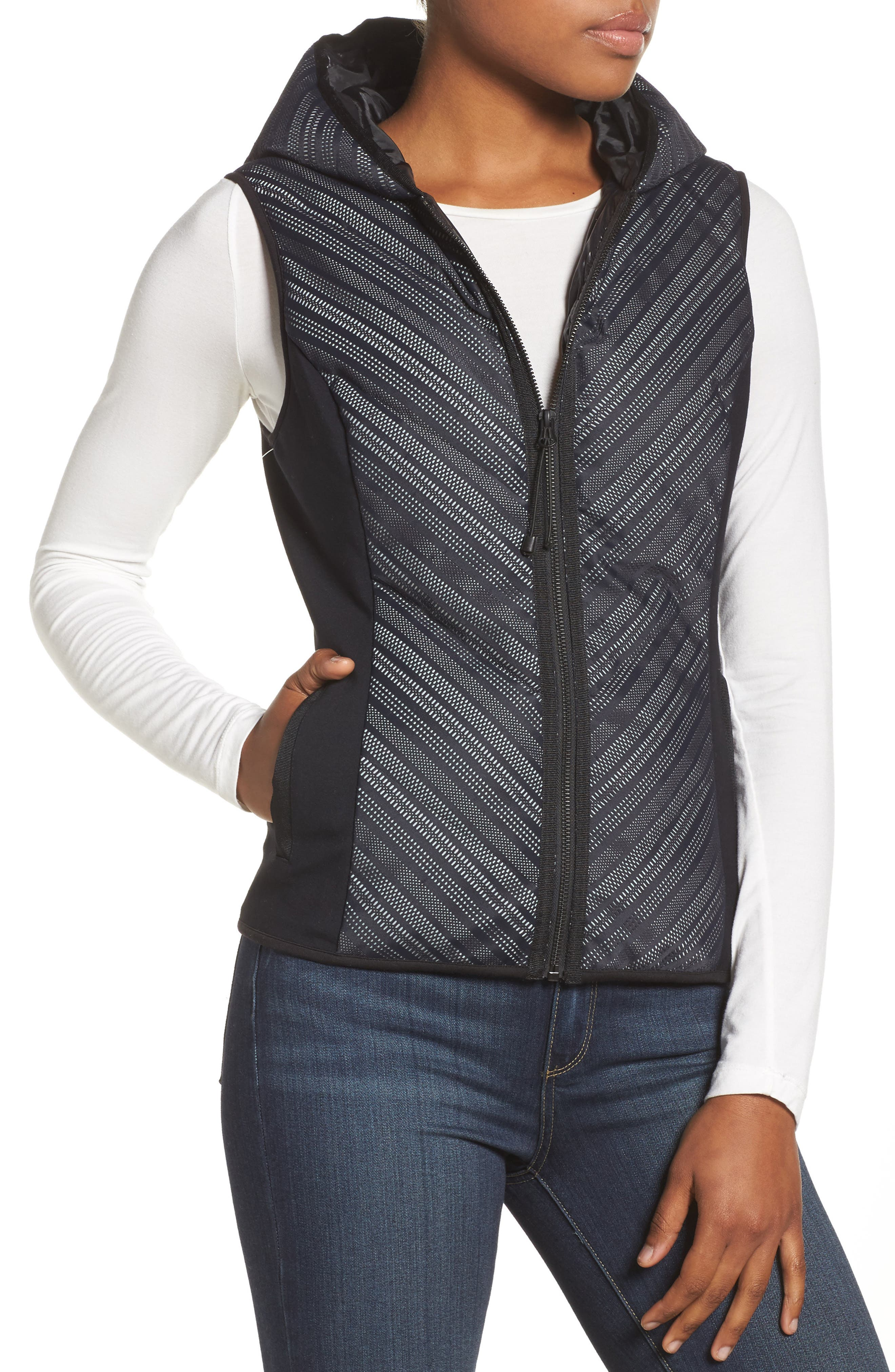 Chevron Reflective Down Vest,                         Main,                         color, BLACK