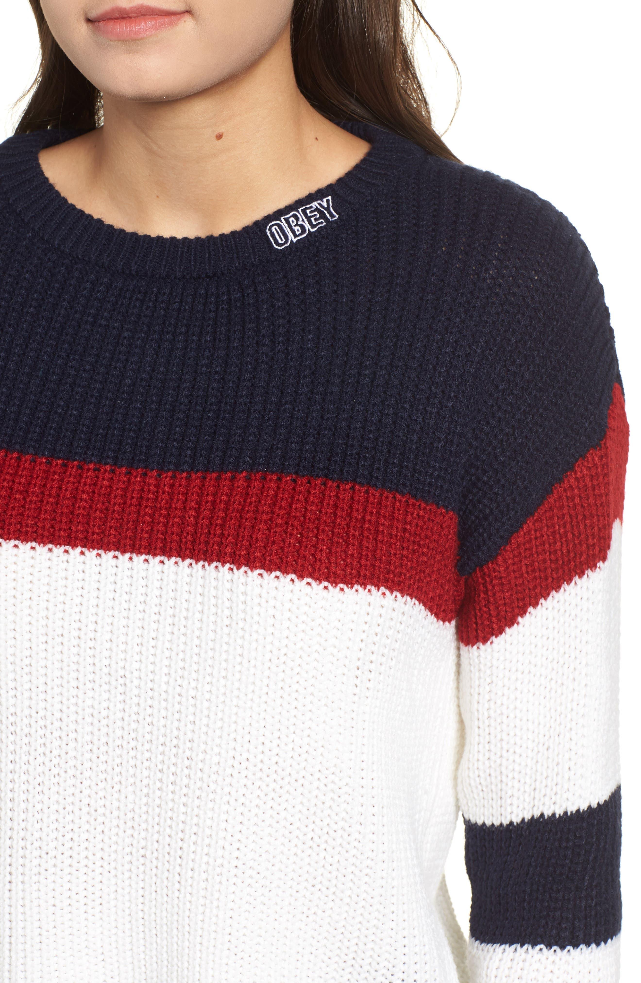 Allie Colorblock Crewneck Sweater,                             Alternate thumbnail 4, color,                             NAVY MULTI