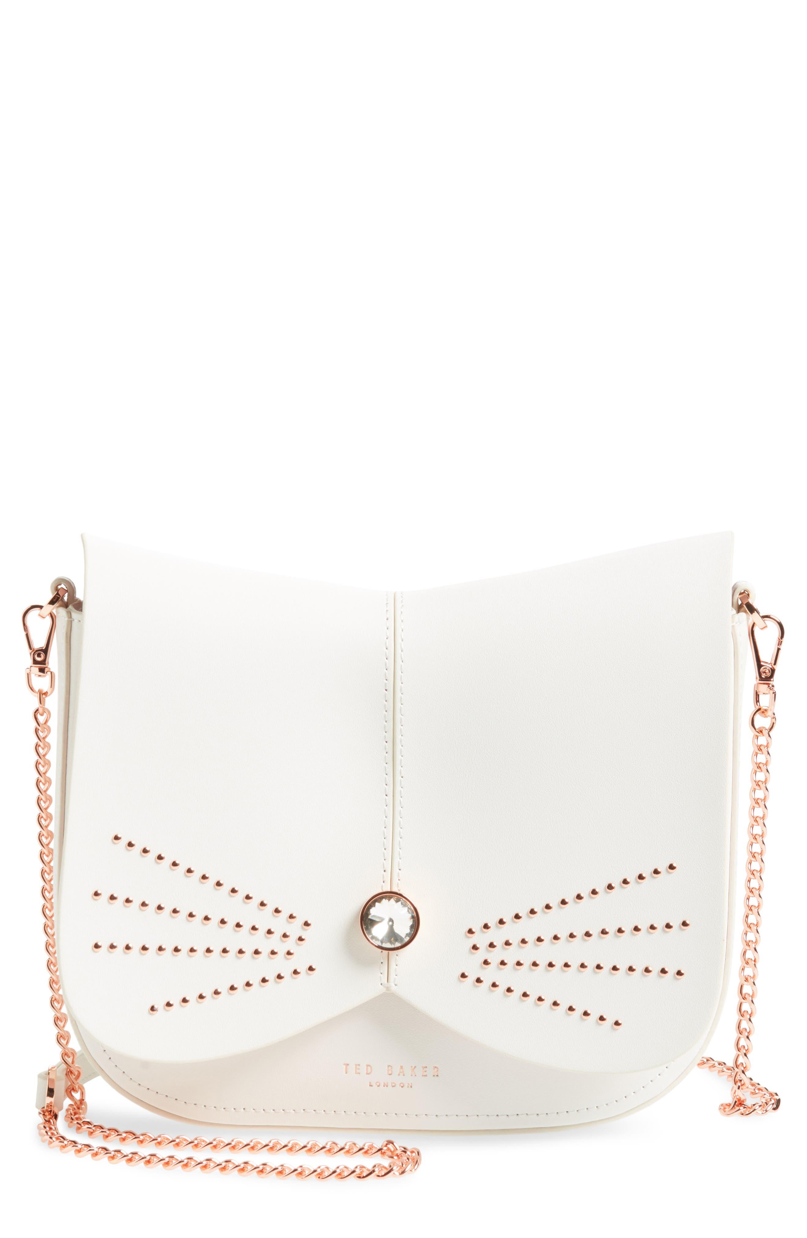 Chriiss Cat Stud Leather Crossbody Bag,                             Main thumbnail 3, color,