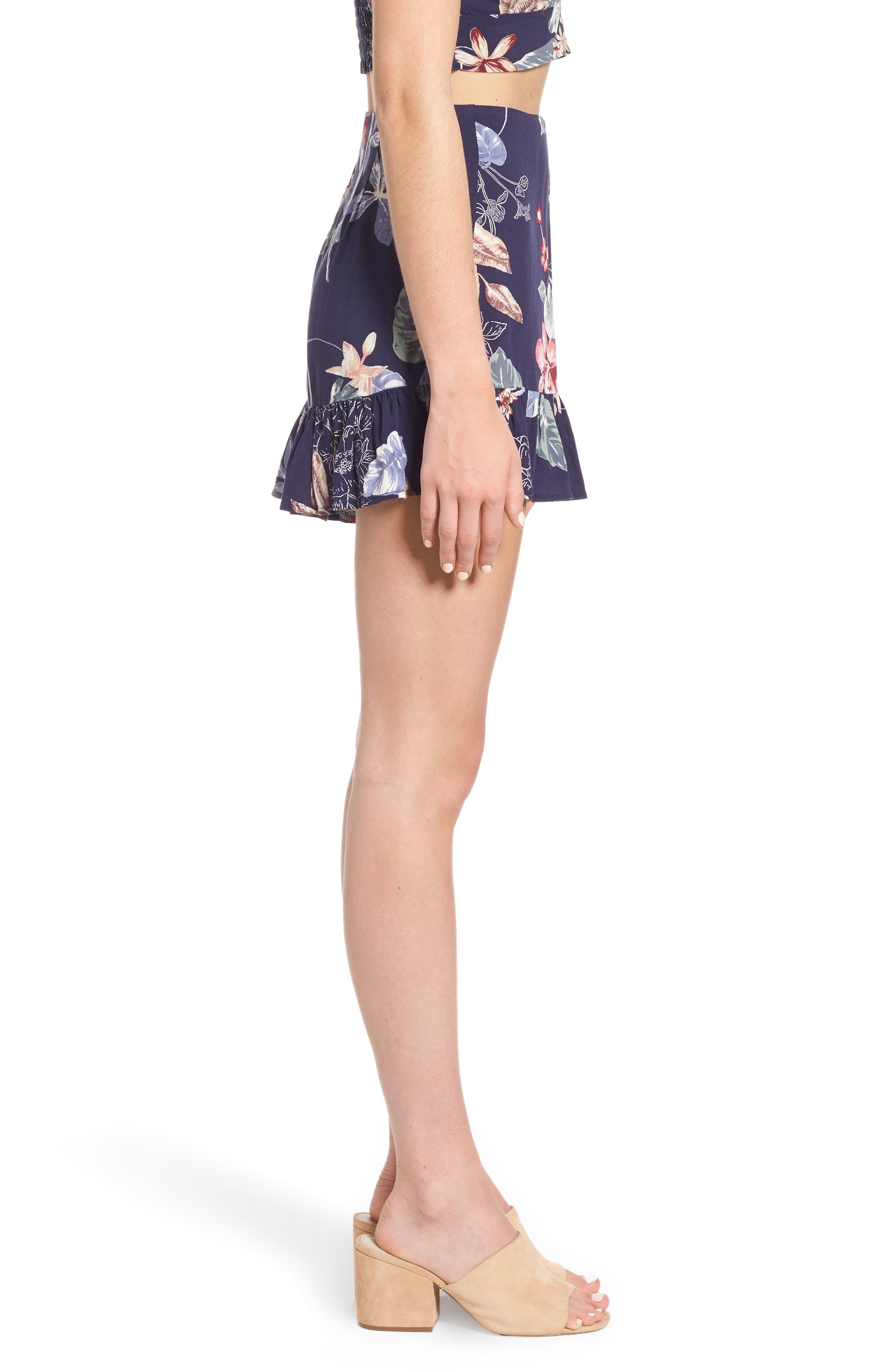 Ruffle Floral High Waist Shorts,                             Alternate thumbnail 3, color,