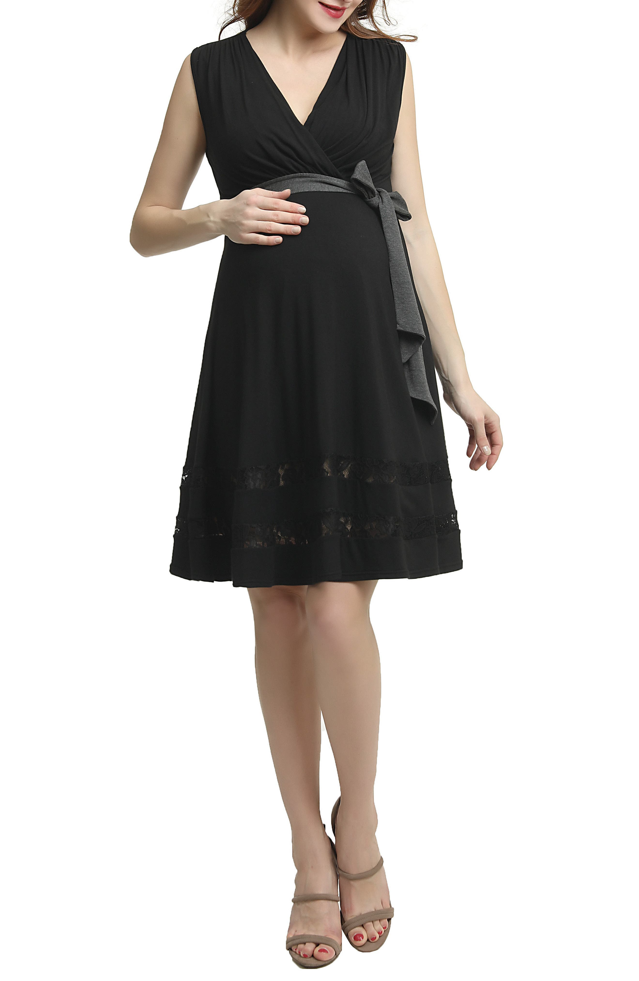 Marji Lace Accent Babydoll Maternity/Nursing Dress,                         Main,                         color, BLACK