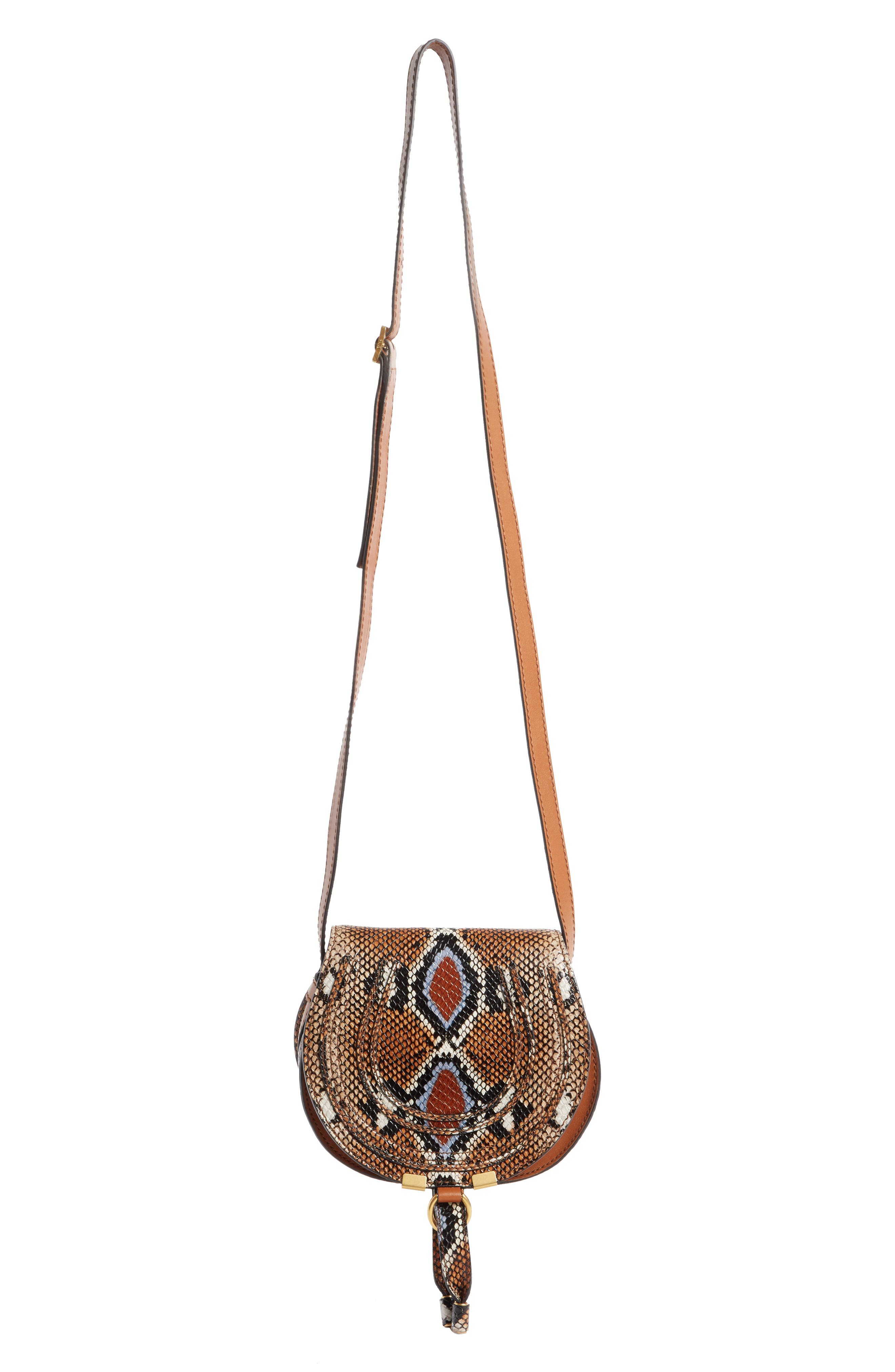 CHLOÉ Mini Marcie Python Embossed Leather Saddle Bag, Main, color, CARAMEL