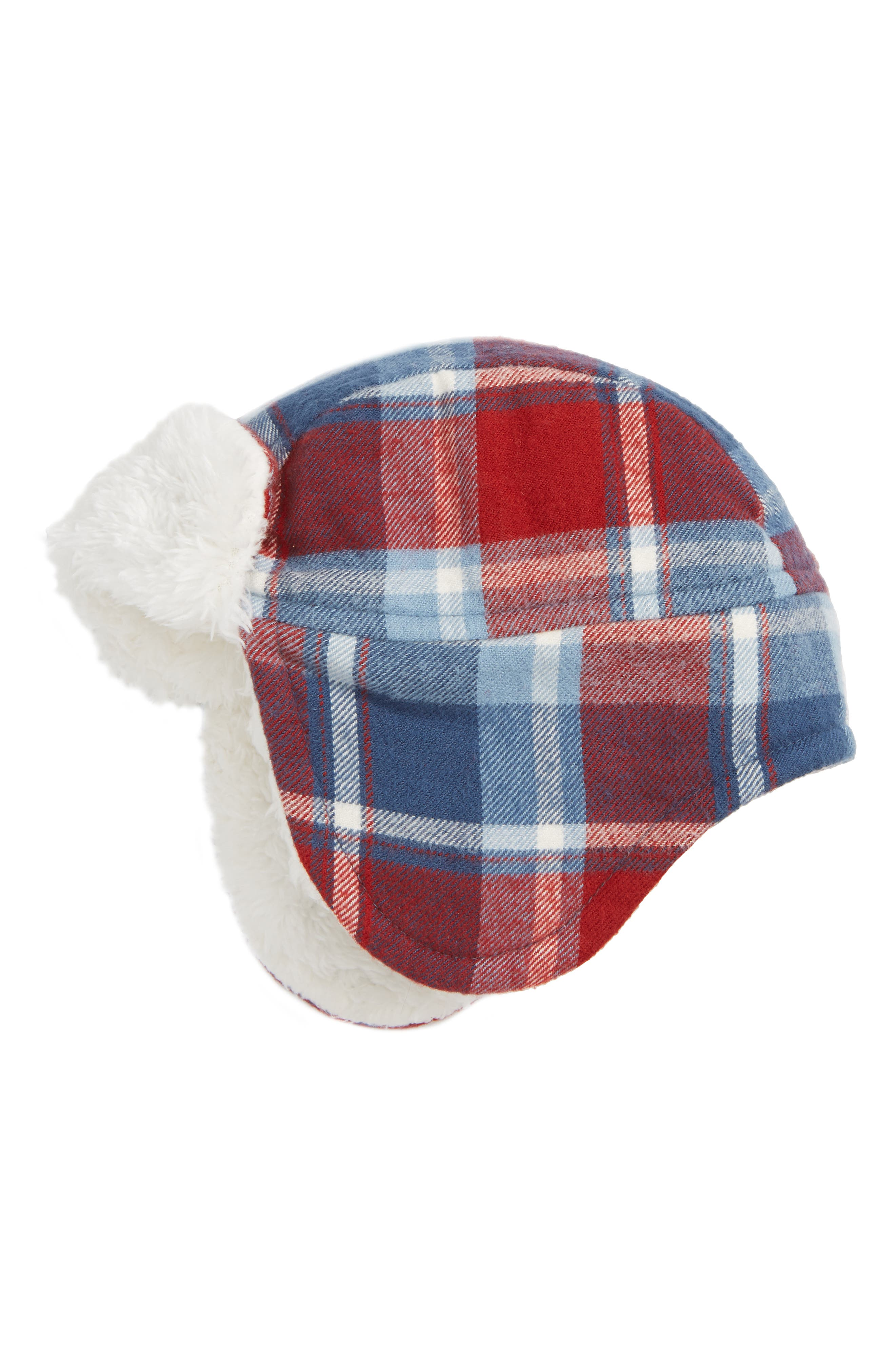 Flight Hat,                             Main thumbnail 1, color,                             RED DAHLIA- NAVY PLAID