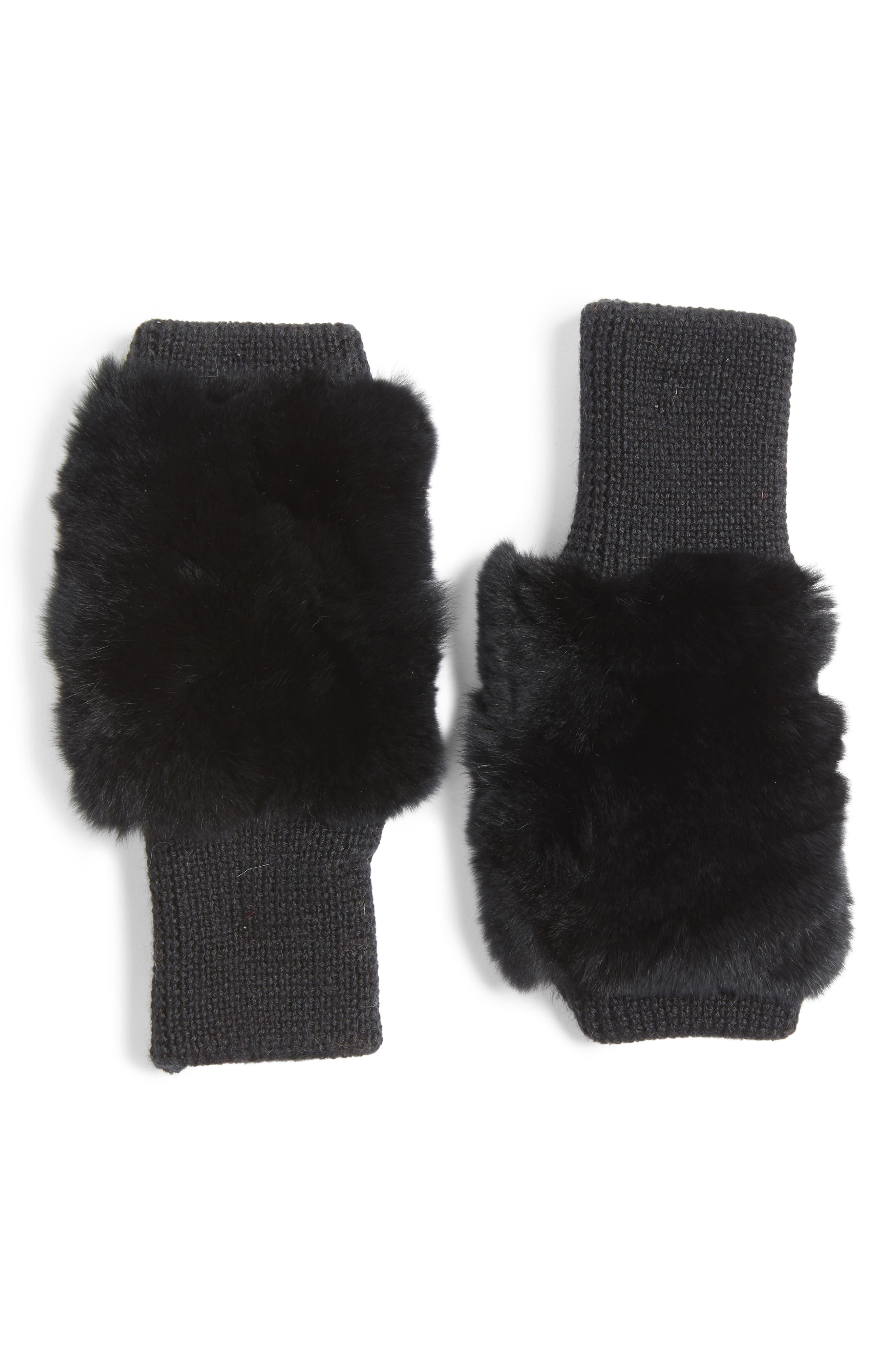 Genuine Rabbit Fur Fingerless Knit Mittens,                             Main thumbnail 1, color,                             001