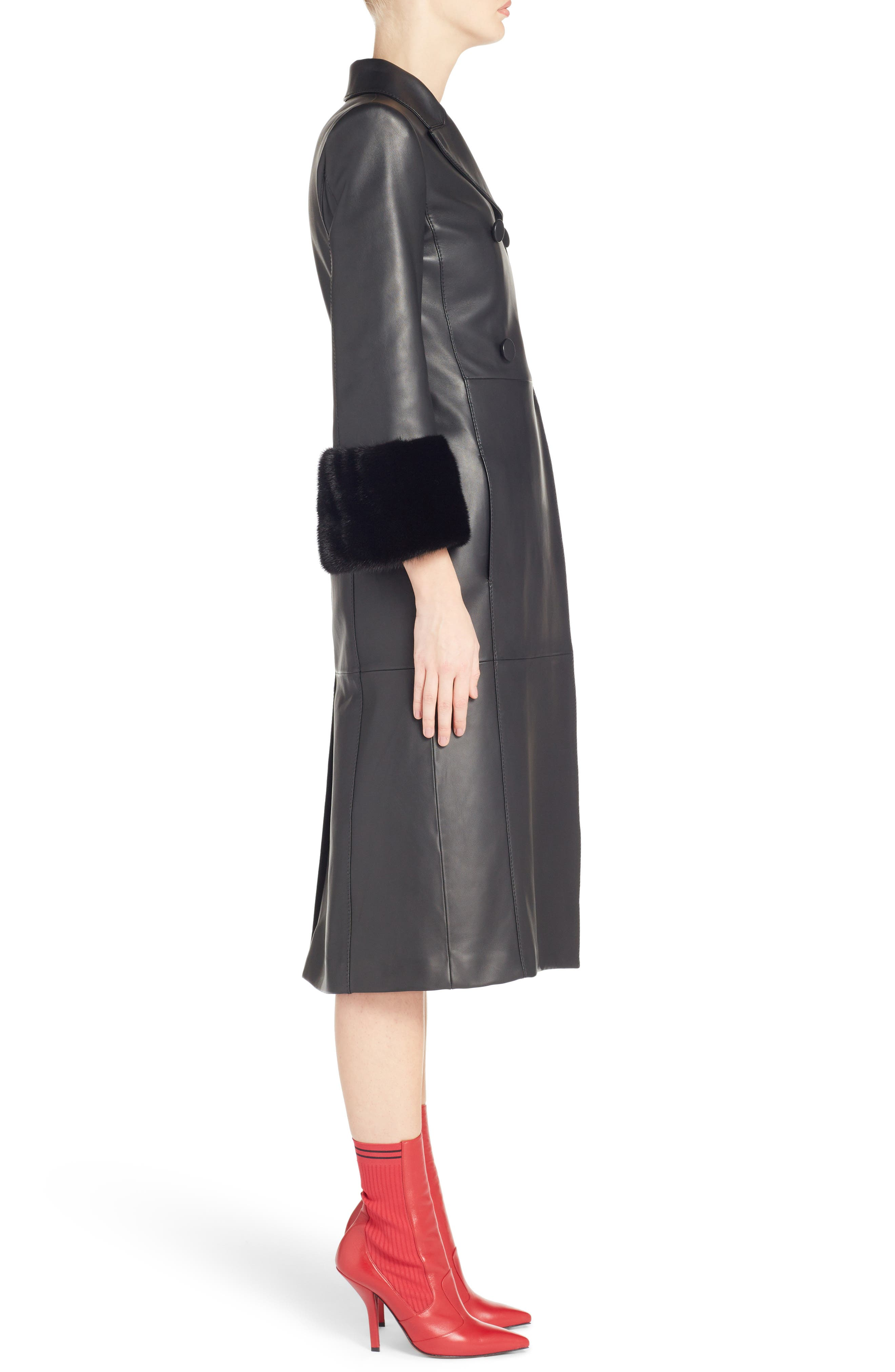 FENDI,                             Leather Double Breasted Coat with Genuine Mink Fur Trim,                             Alternate thumbnail 3, color,                             BLACK