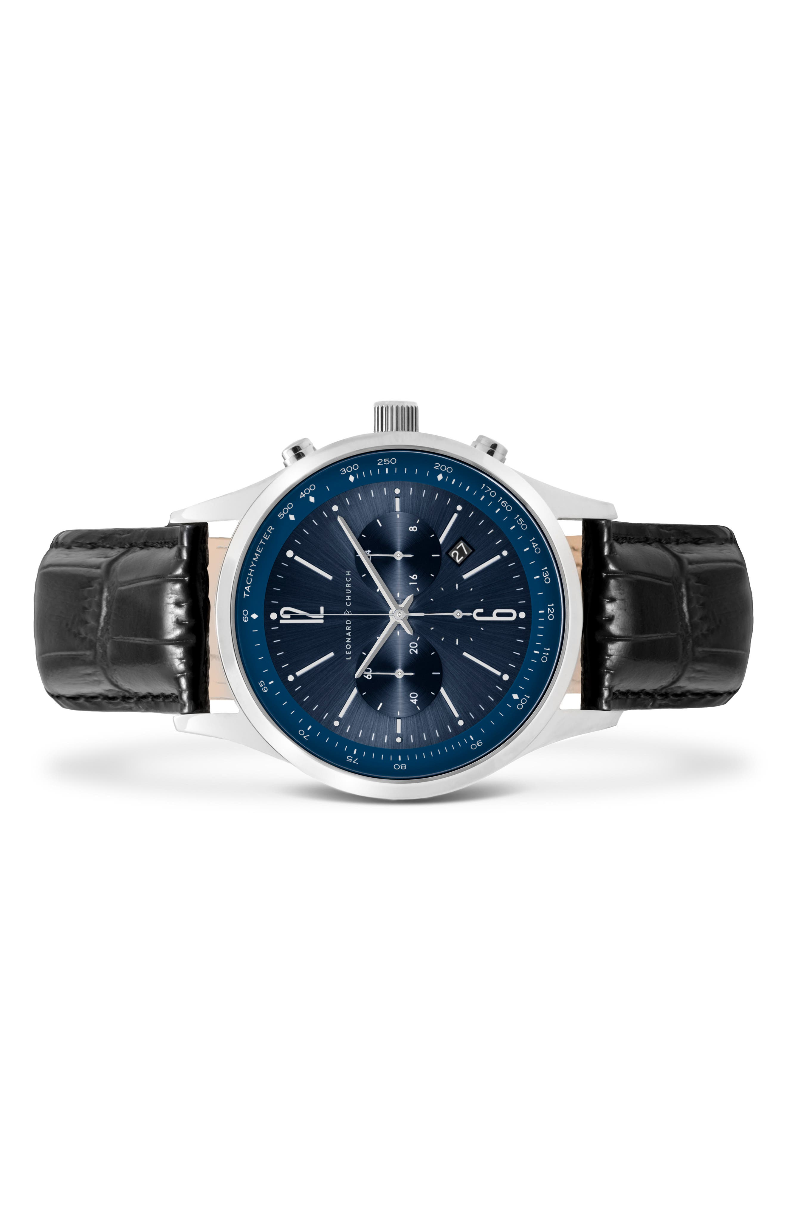 Leonard & Church Barclay Chronograph Leather Strap Watch, 43mm,                             Alternate thumbnail 7, color,                             BLACK/ BLUE/ SILVER