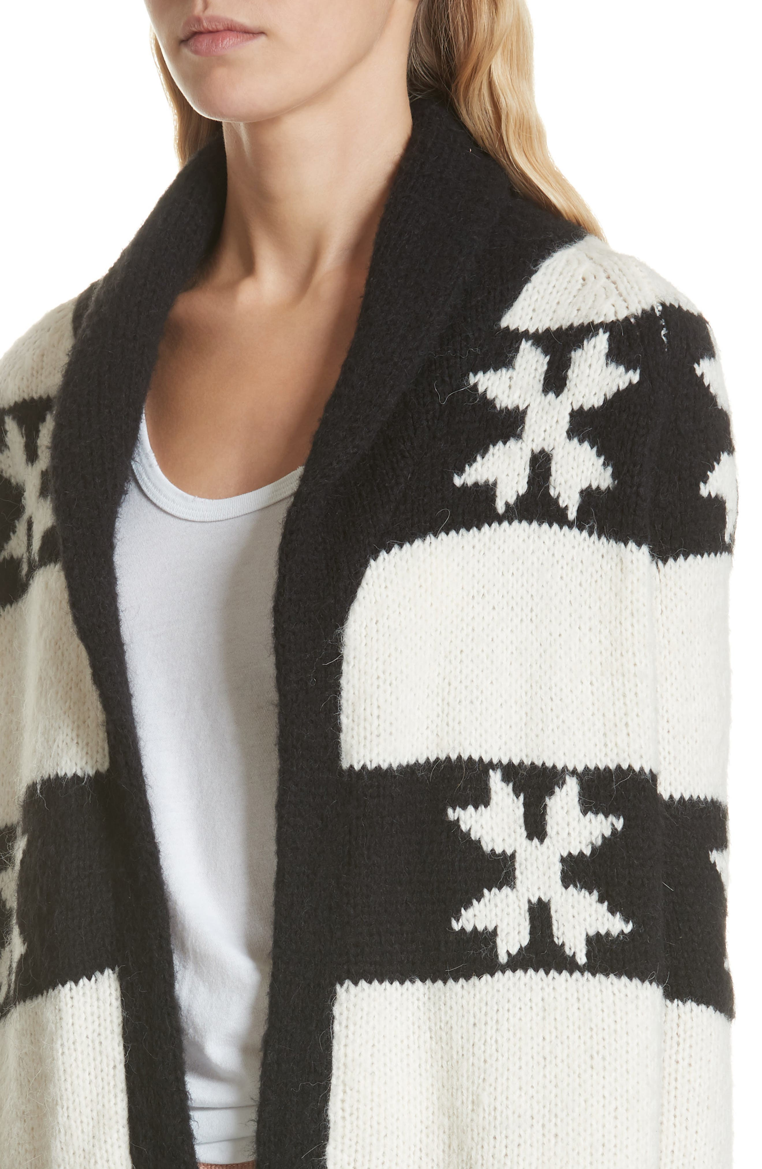 Starflower Cardigan,                             Alternate thumbnail 4, color,                             CREAM AND BLACK