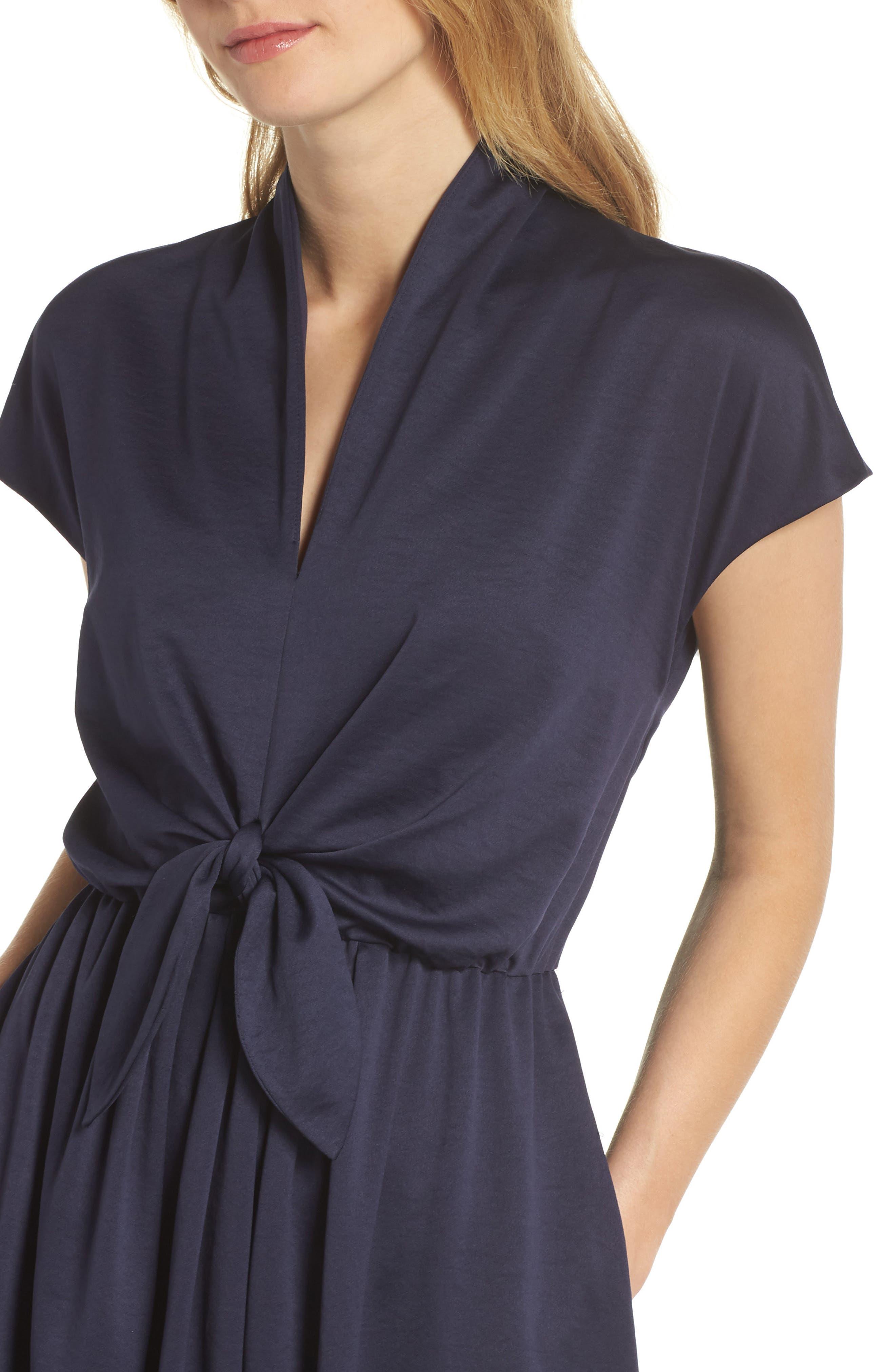 Margie Tie Waist Satin Midi Dress,                             Alternate thumbnail 4, color,                             NAVY