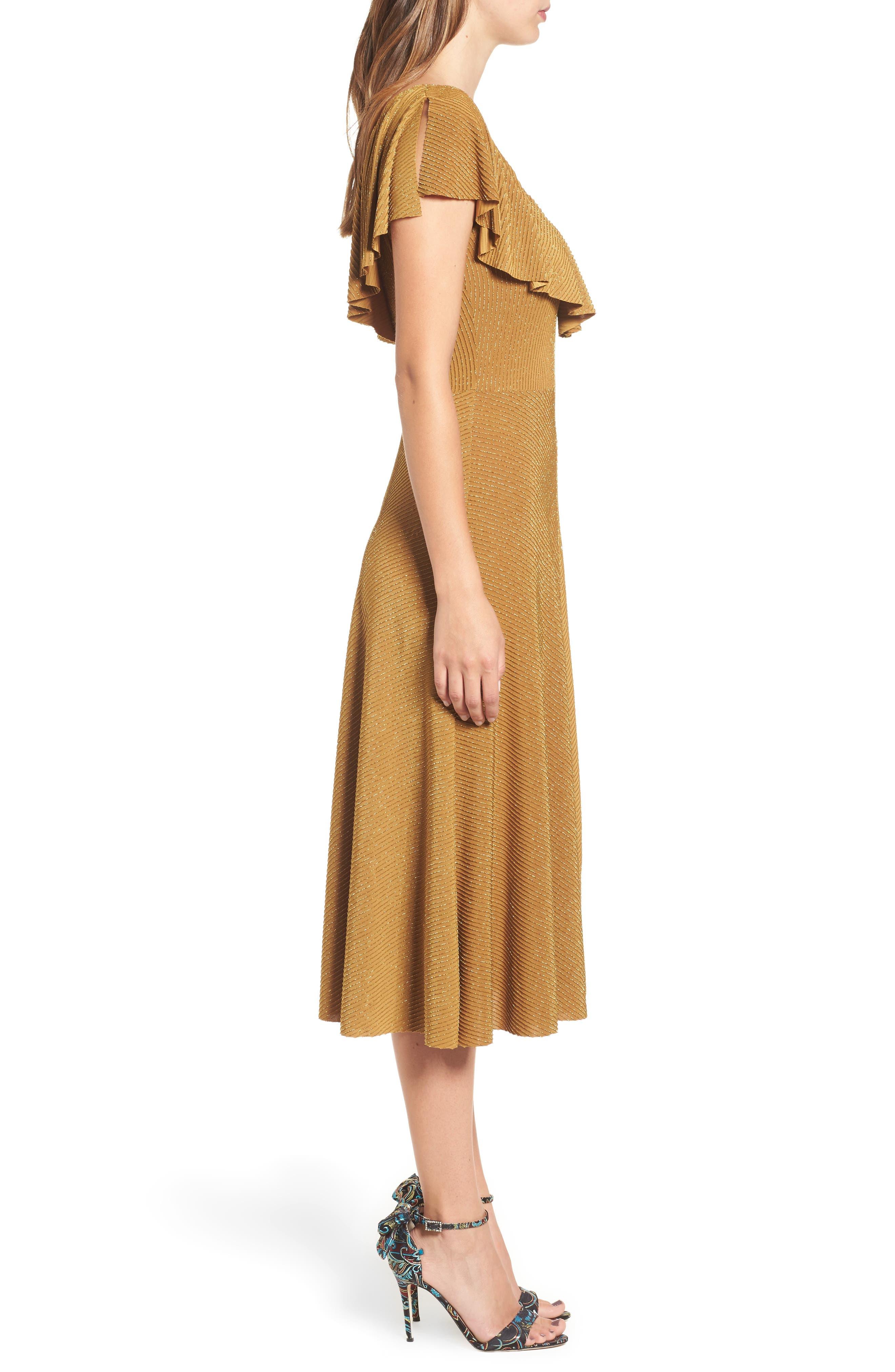 Ruffle Midi Dress,                             Alternate thumbnail 3, color,                             710