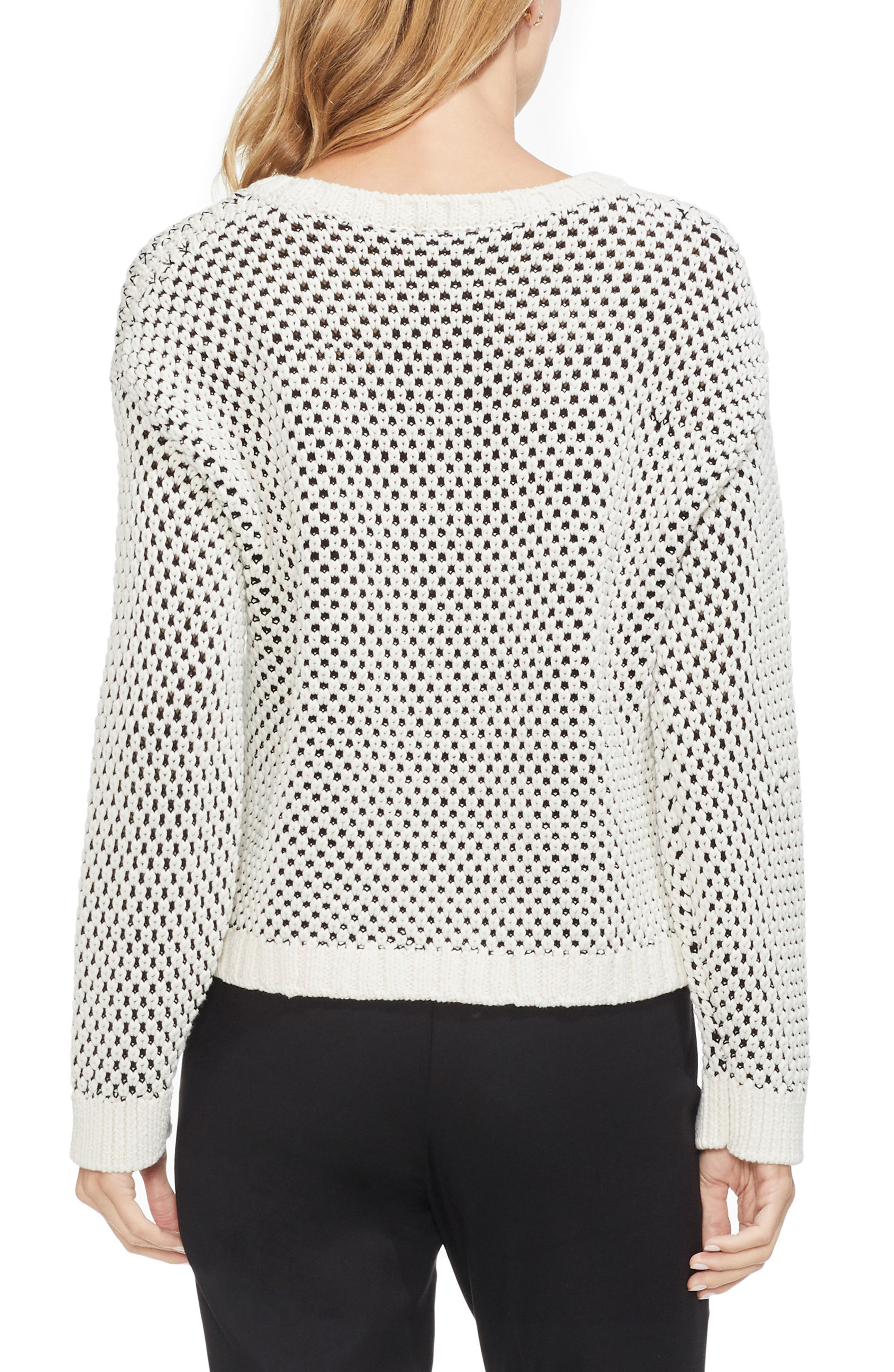VINCE CAMUTO,                             Textured Stitch Sweater,                             Alternate thumbnail 2, color,                             ANTIQUE WHITE