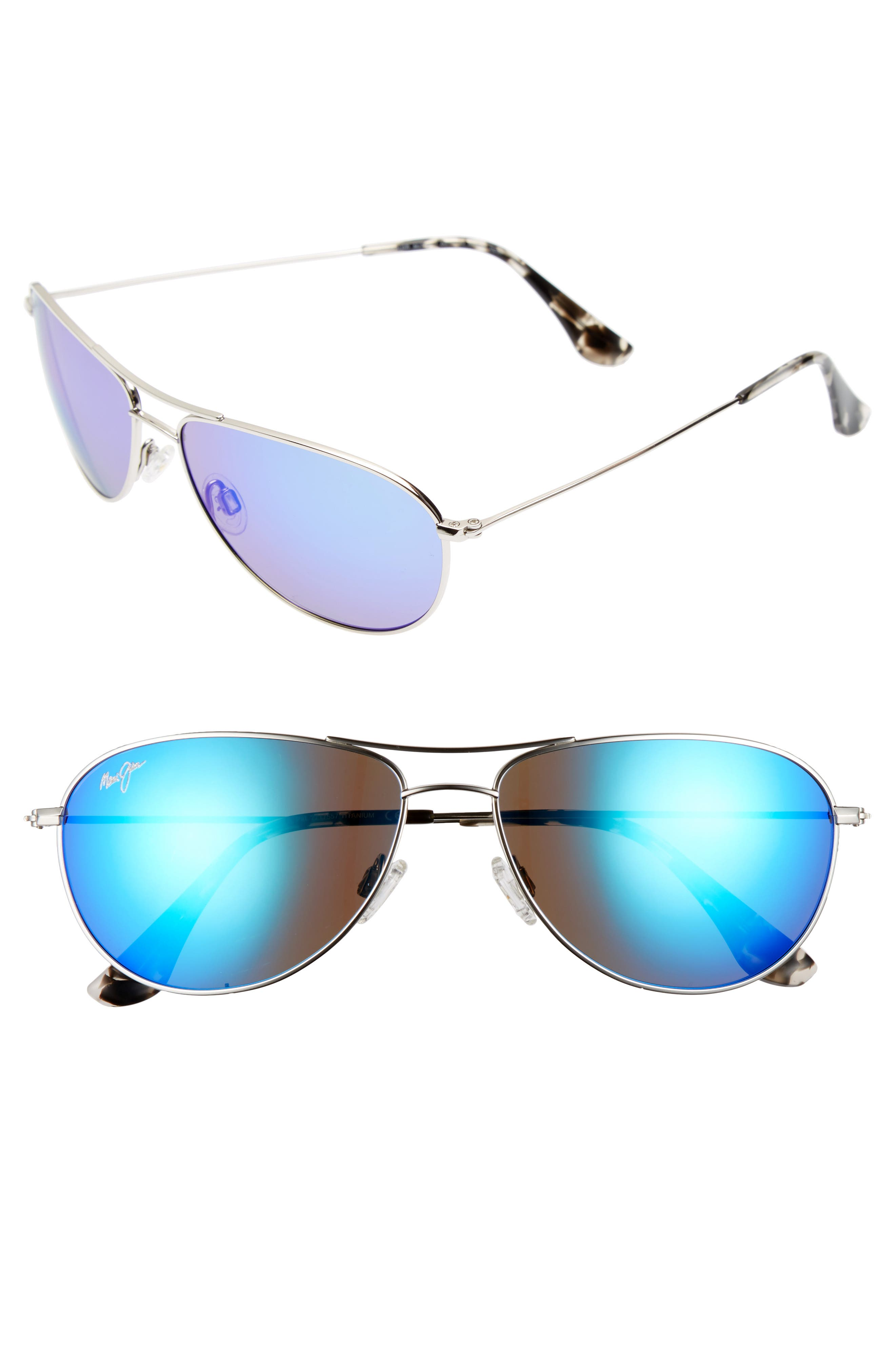 Sea House 60mm Polarized Titanium Aviator Sunglasses,                         Main,                         color, SILVER/ BLUE HAWAII