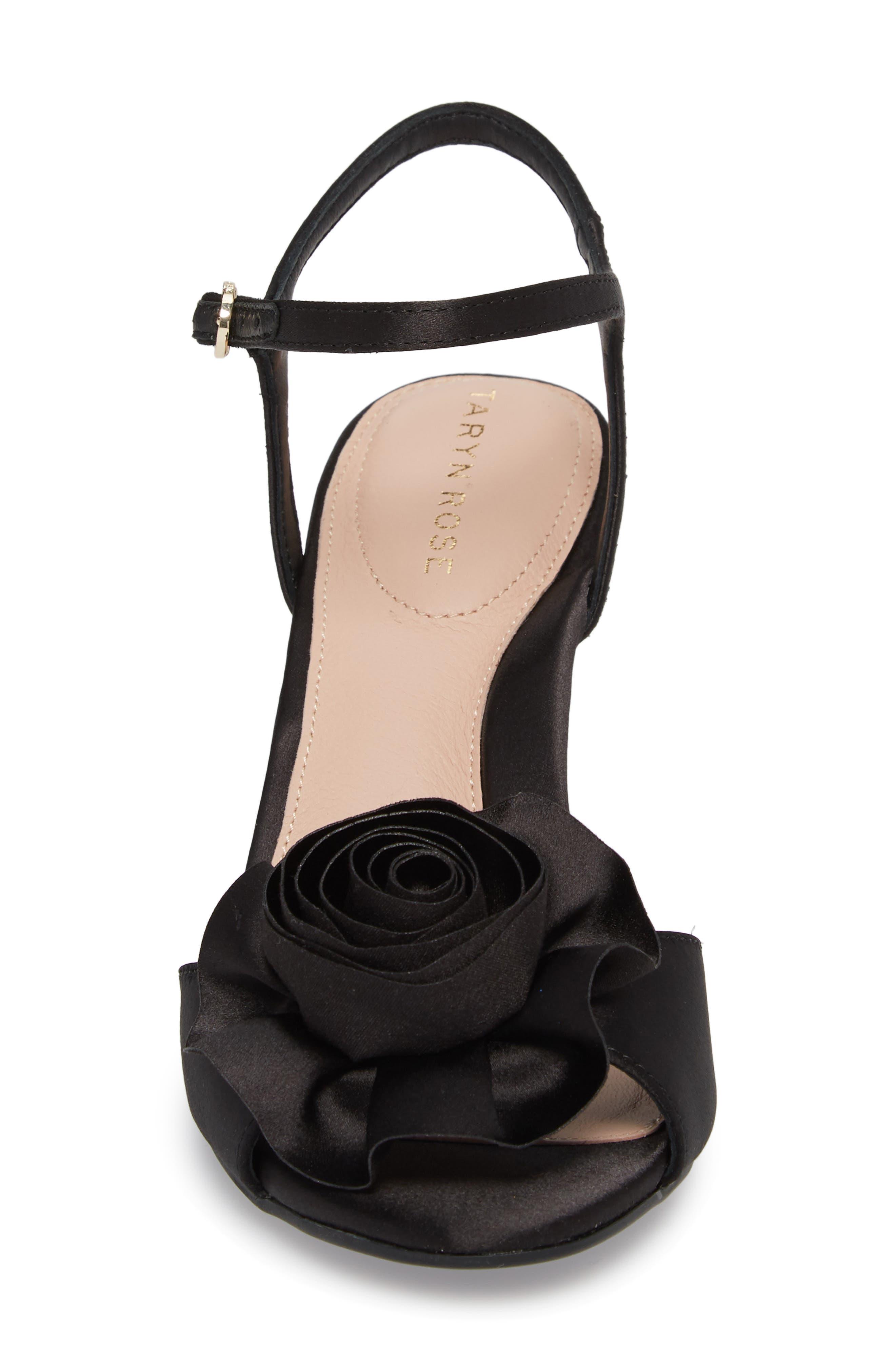 Jacklyn Flower Sandal,                             Alternate thumbnail 4, color,                             BLACK SHIMMER FABRIC