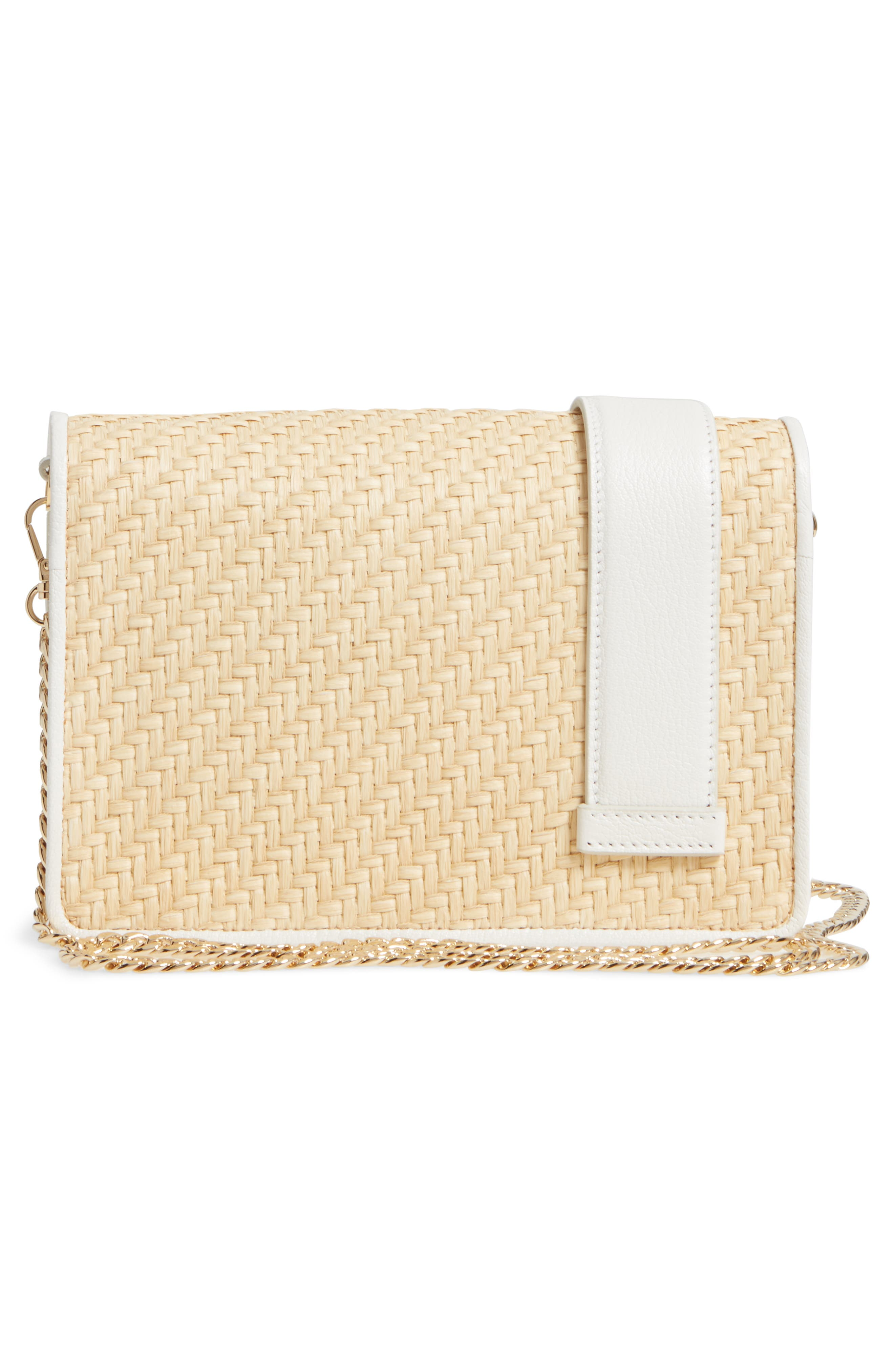 Woven Raffia & Leather Shoulder Bag,                             Alternate thumbnail 3, color,                             NATURALE/ BIANCO