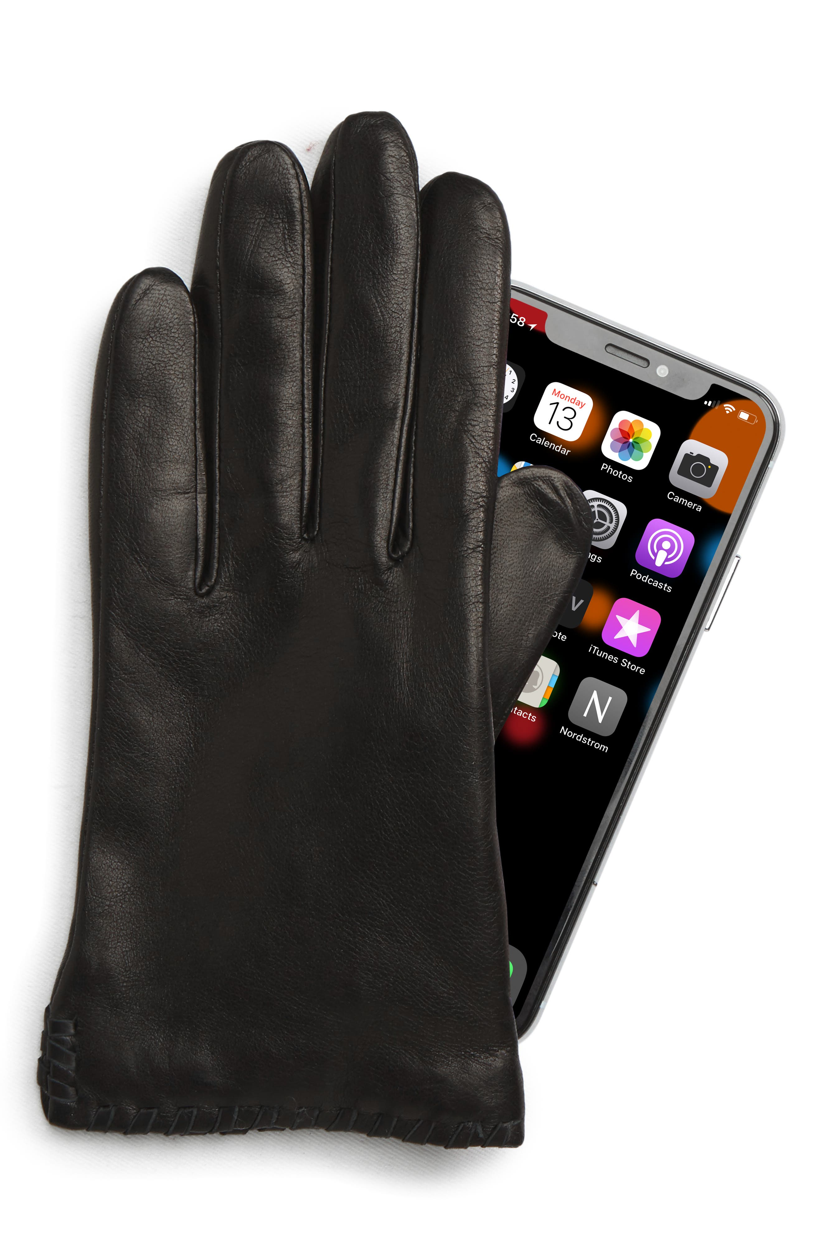 Nora Whipstitch Lambskin Leather Touchscreen Gloves,                             Alternate thumbnail 2, color,                             BLACK