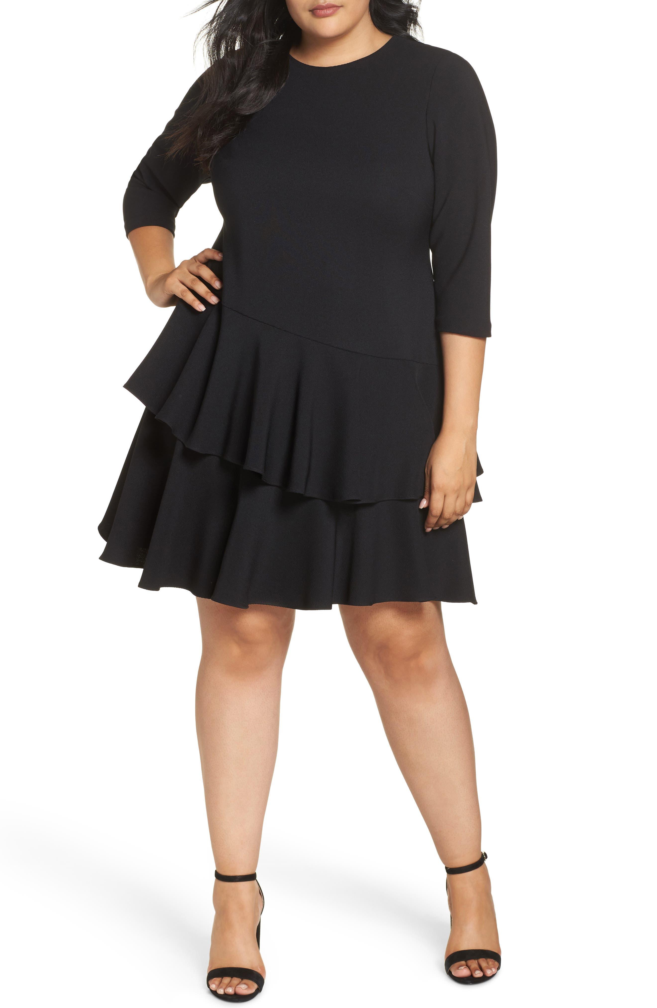 Ruffle Tiered Shift Dress,                         Main,                         color, BLACK