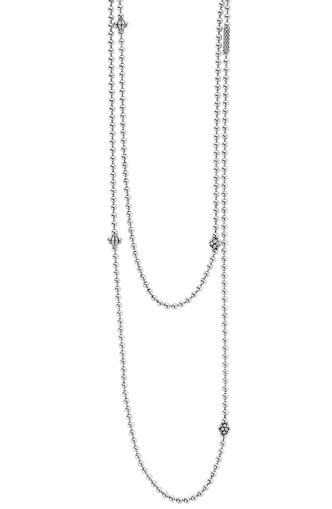 LAGOS 'Caviar Icon' Strand Necklace, Main, color, SILVER