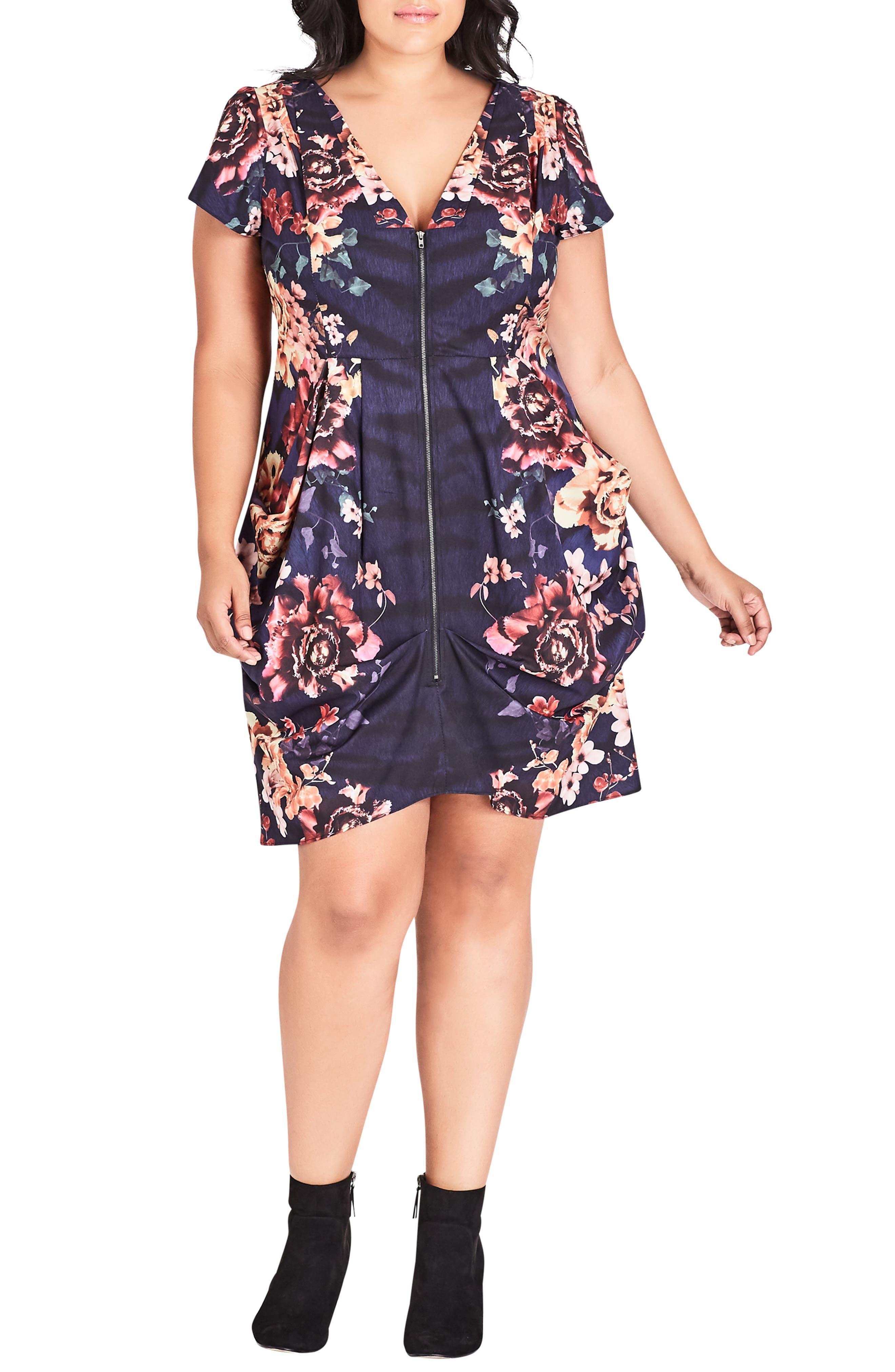 Plus Size City Chic Desert Floral Tunic, Blue