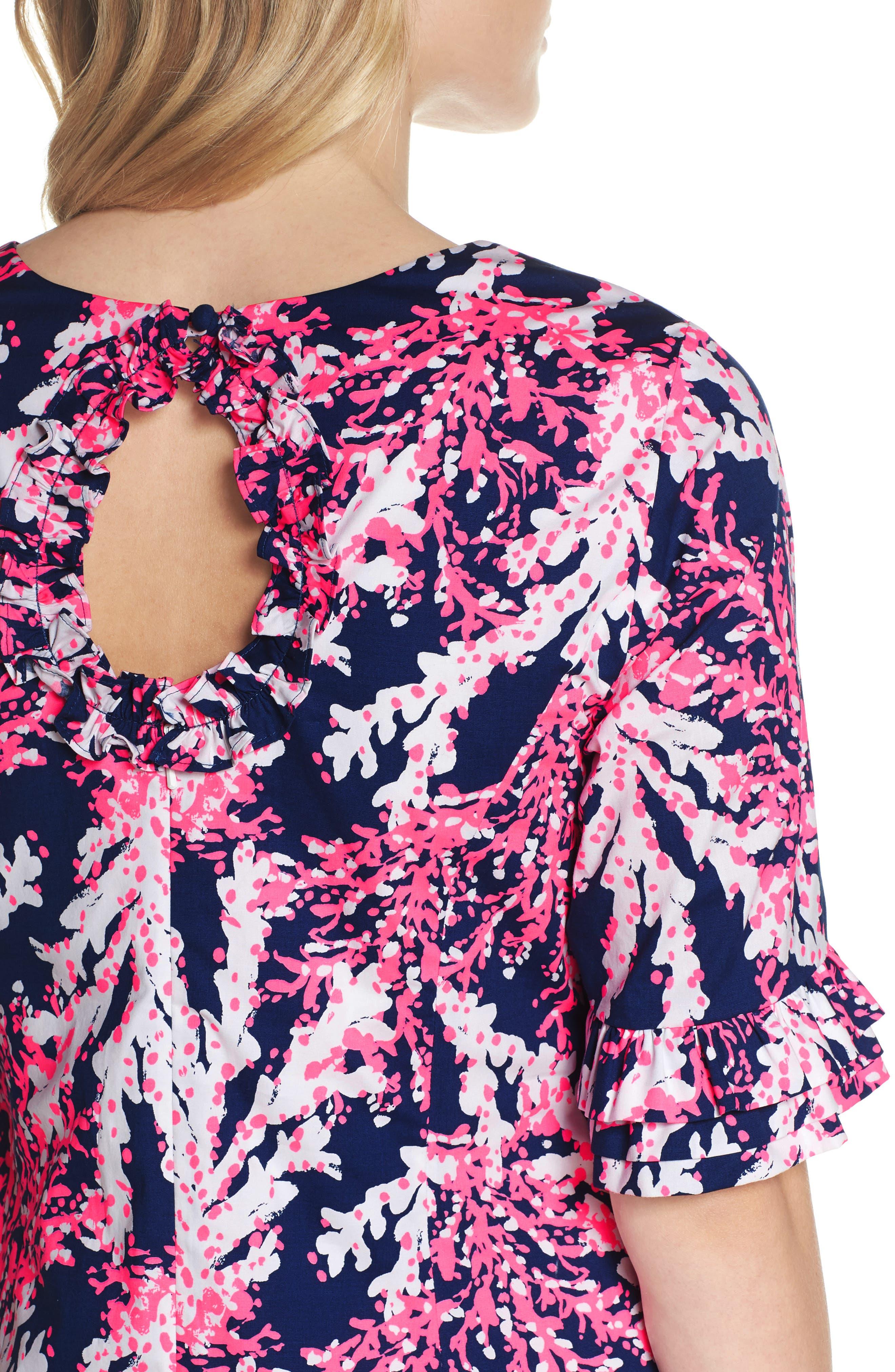 Fiesta Stretch Sheath Dress,                             Alternate thumbnail 4, color,                             NAUTI NAVY BEYOND THE SEA