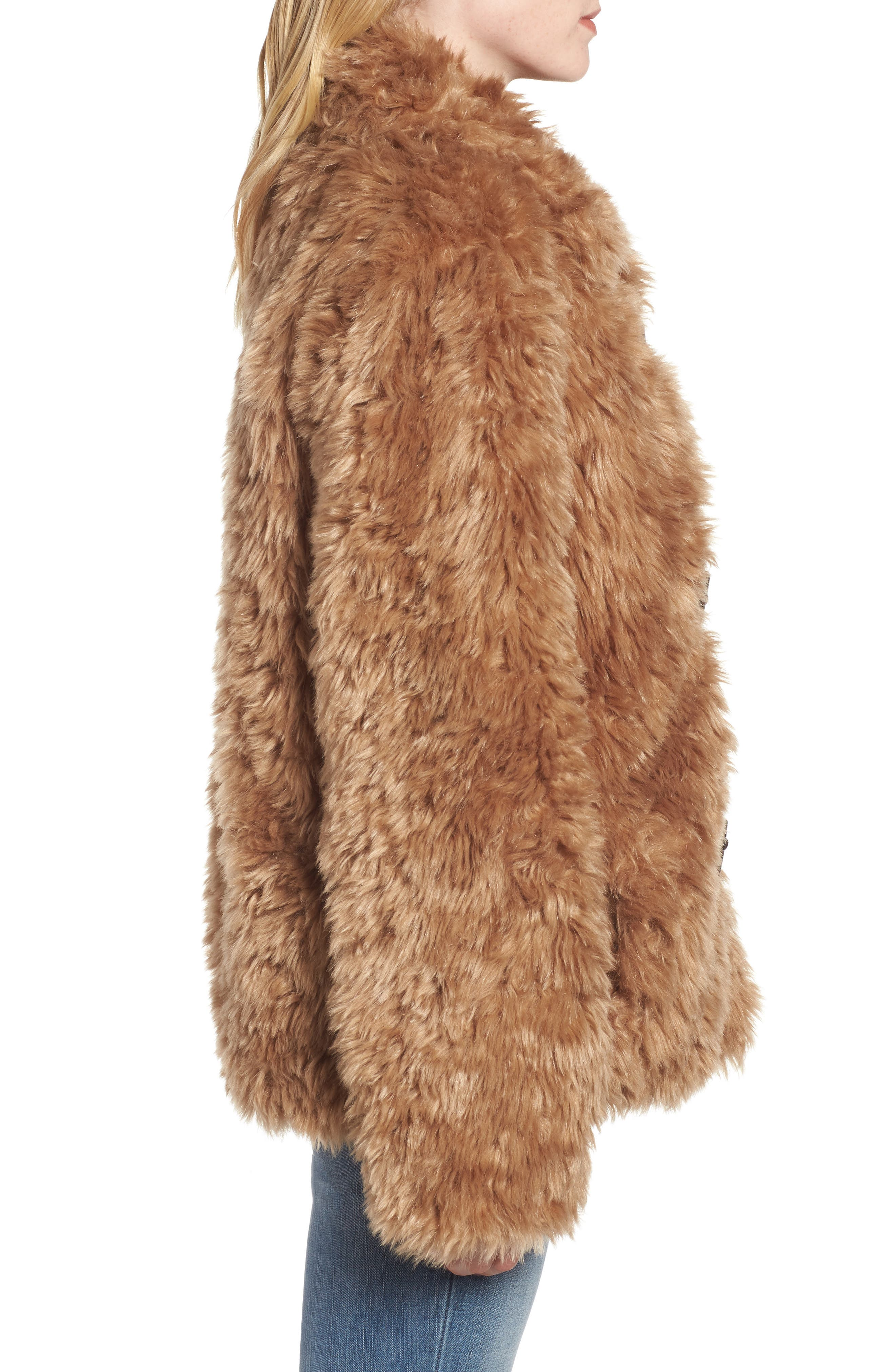Faux Fur Teddy Coat,                             Alternate thumbnail 3, color,                             260