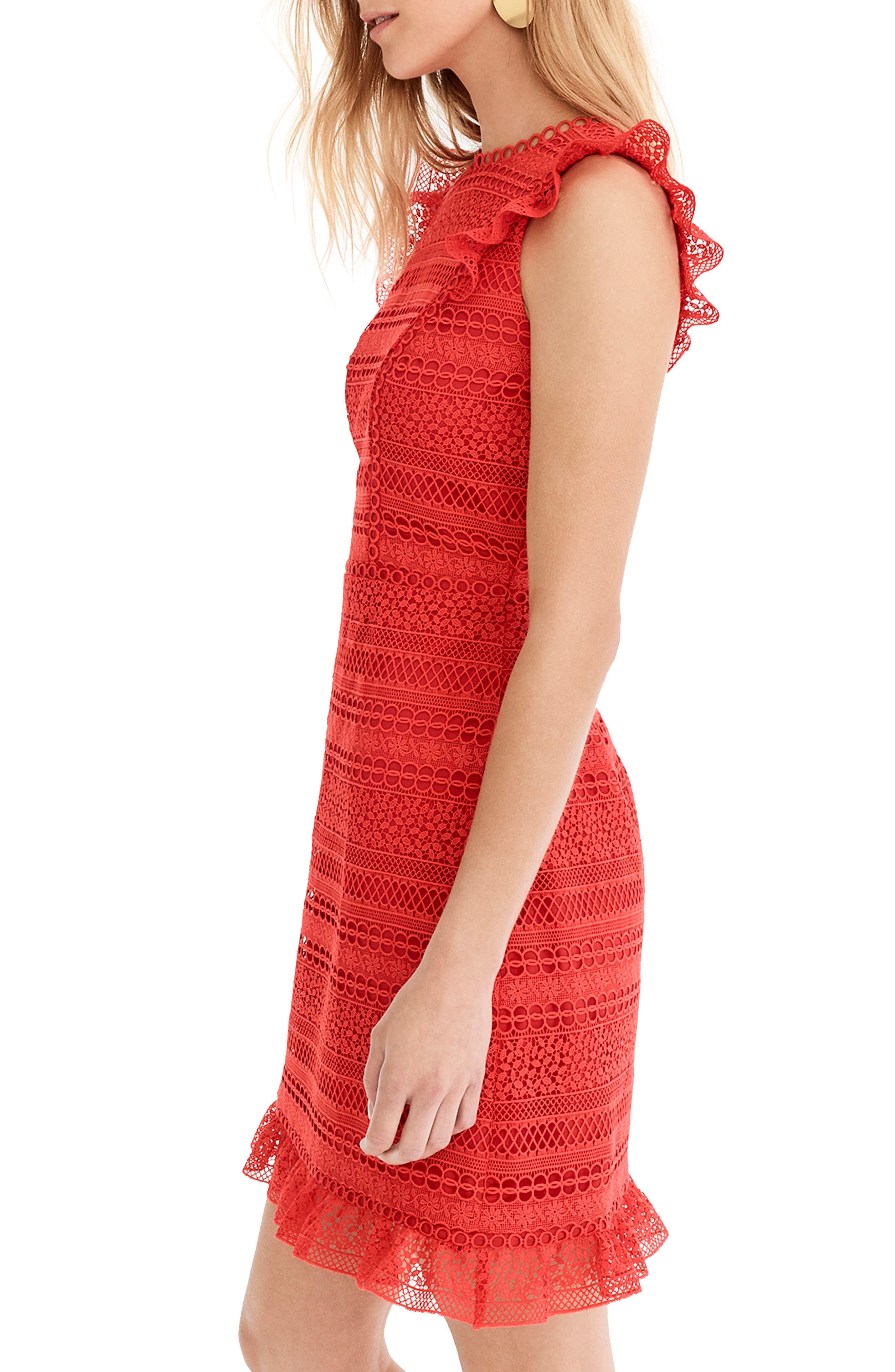 Cap Sleeve Ruffle Lace Dress,                             Alternate thumbnail 3, color,                             BRIGHT CERISE