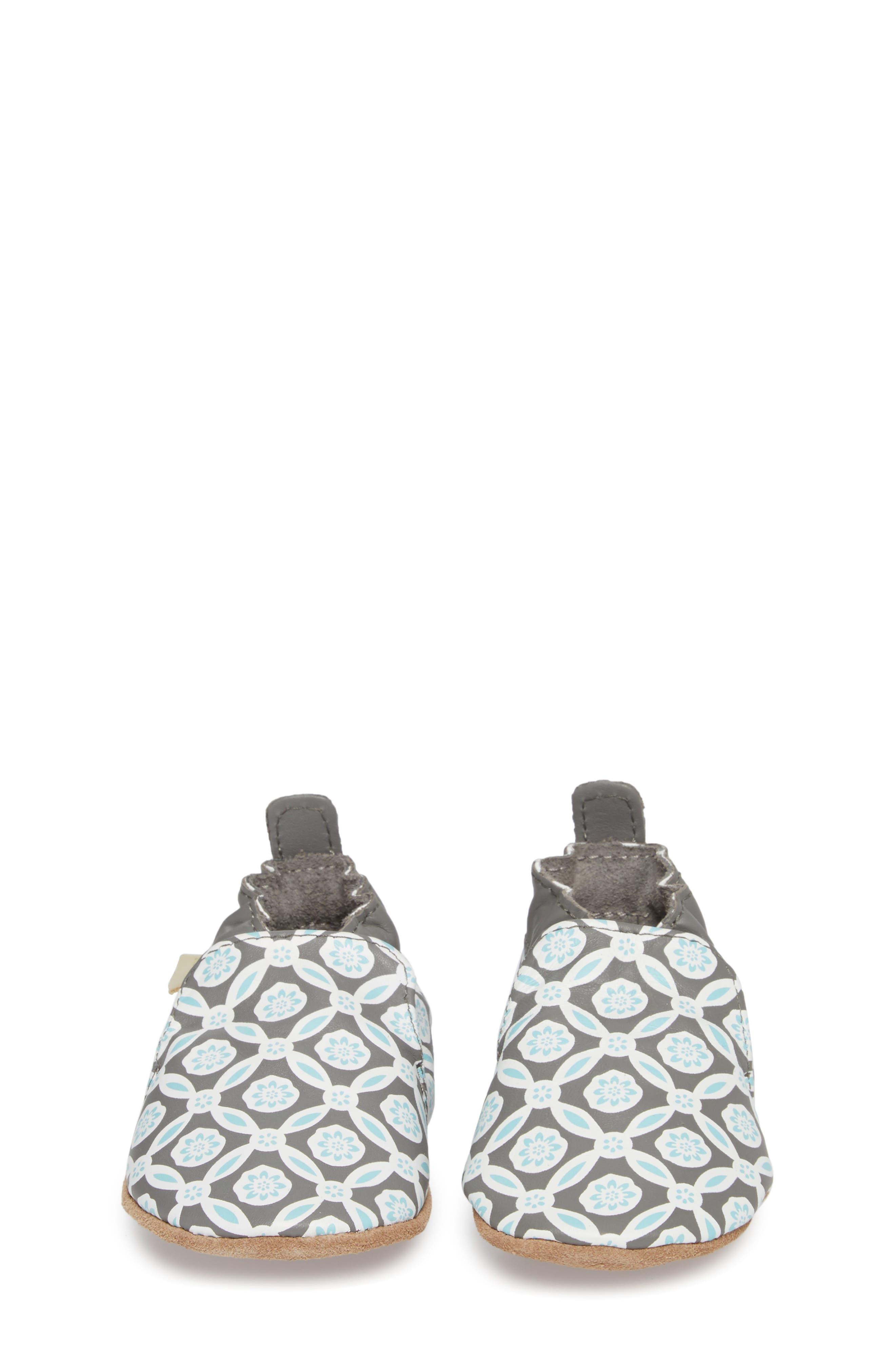 Khloe Moccasin Crib Shoe,                             Alternate thumbnail 4, color,                             CHARCOAL