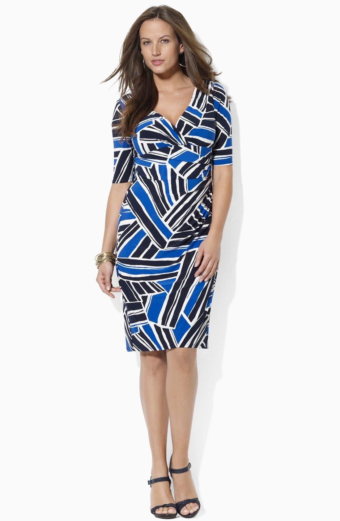 Print Jersey Sheath Dress,                             Alternate thumbnail 3, color,                             450