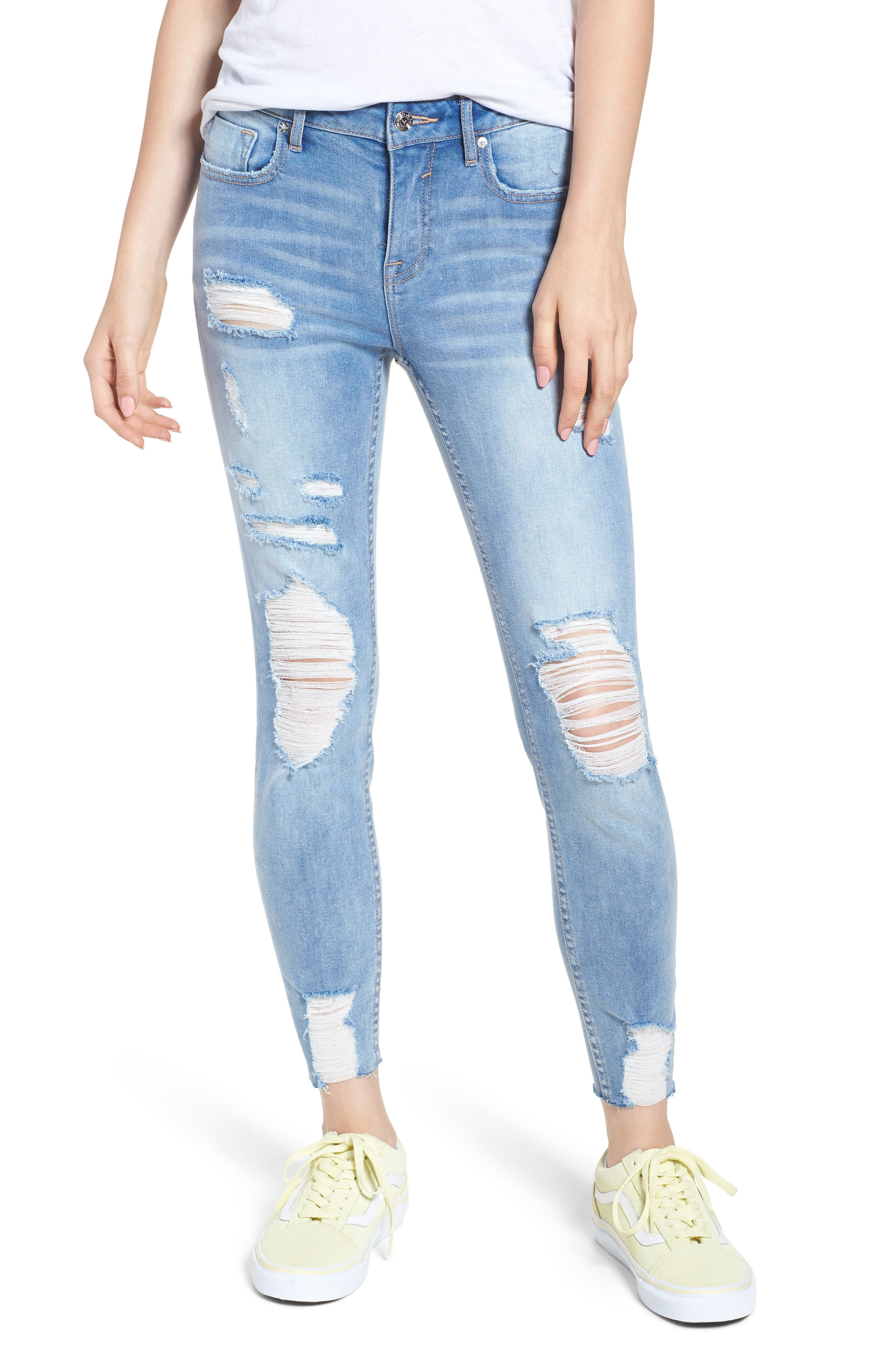 Marley Distressed Crop Skinny Jeans,                             Main thumbnail 1, color,                             461
