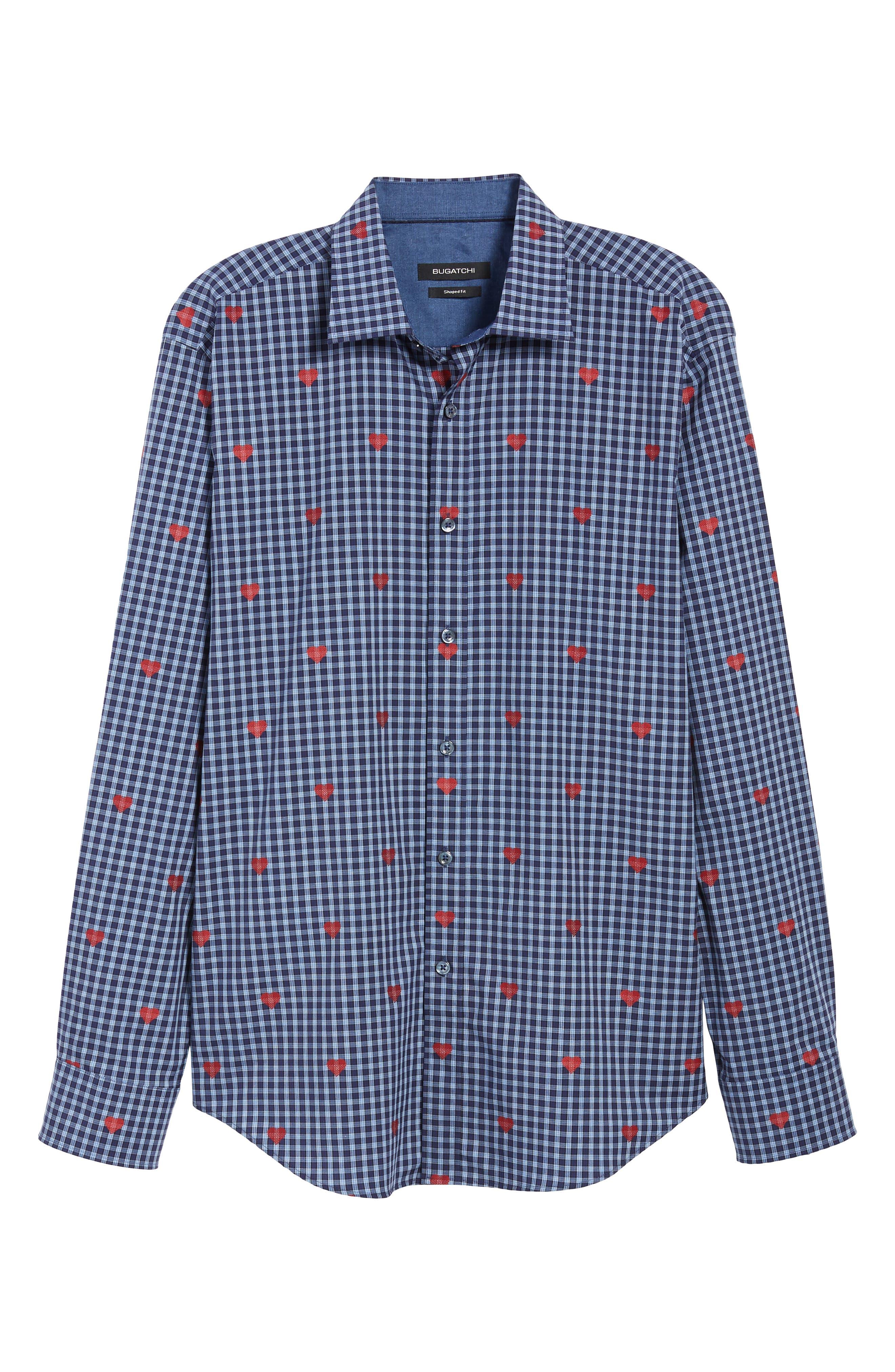 Shaped Fit Sport Shirt,                             Alternate thumbnail 5, color,                             NAVY