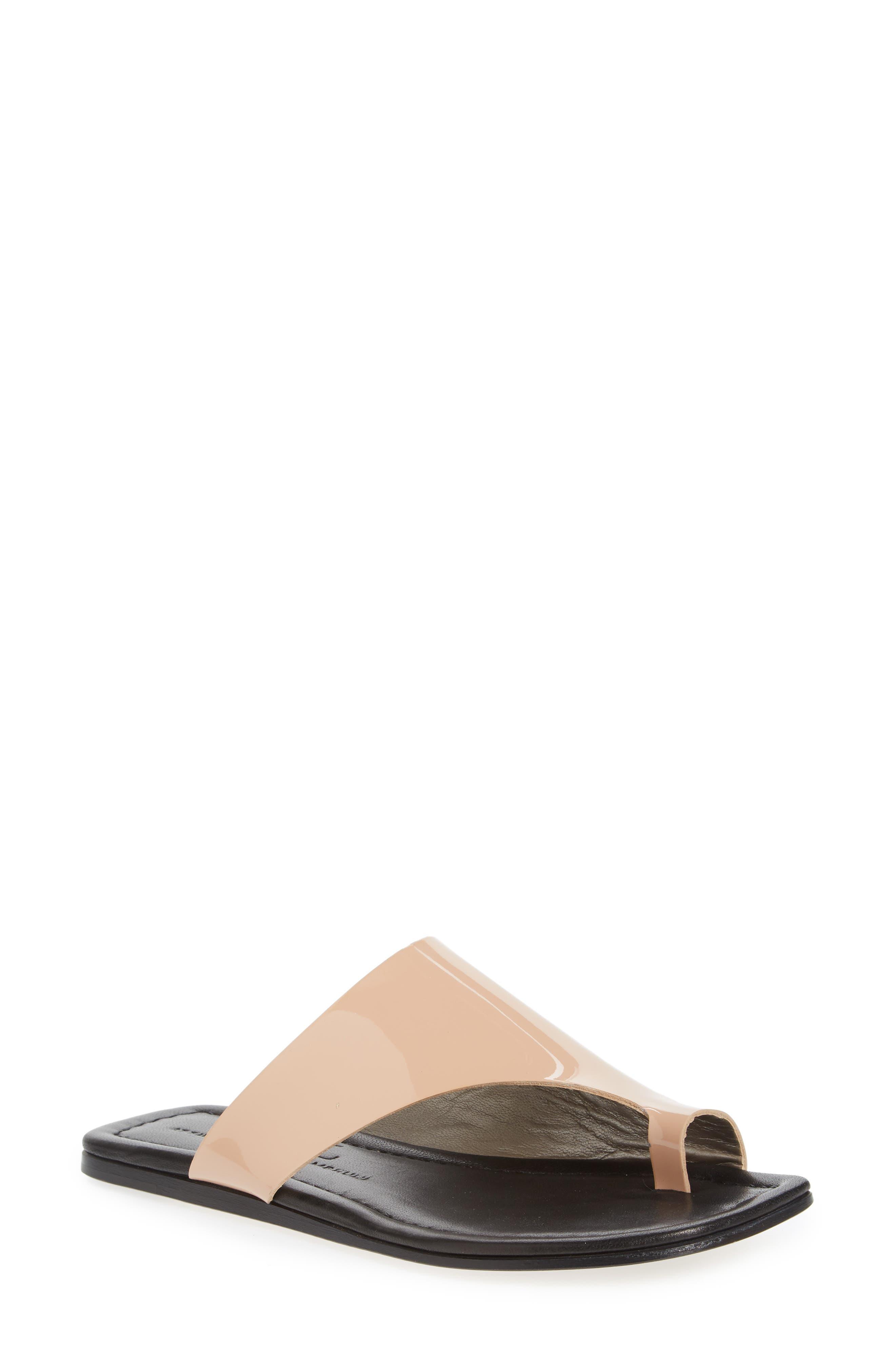 5f04b2d961b82 Agl Attilio Giusti Leombruni Asymmetrical Toe Thong Sandal In Nude Patent
