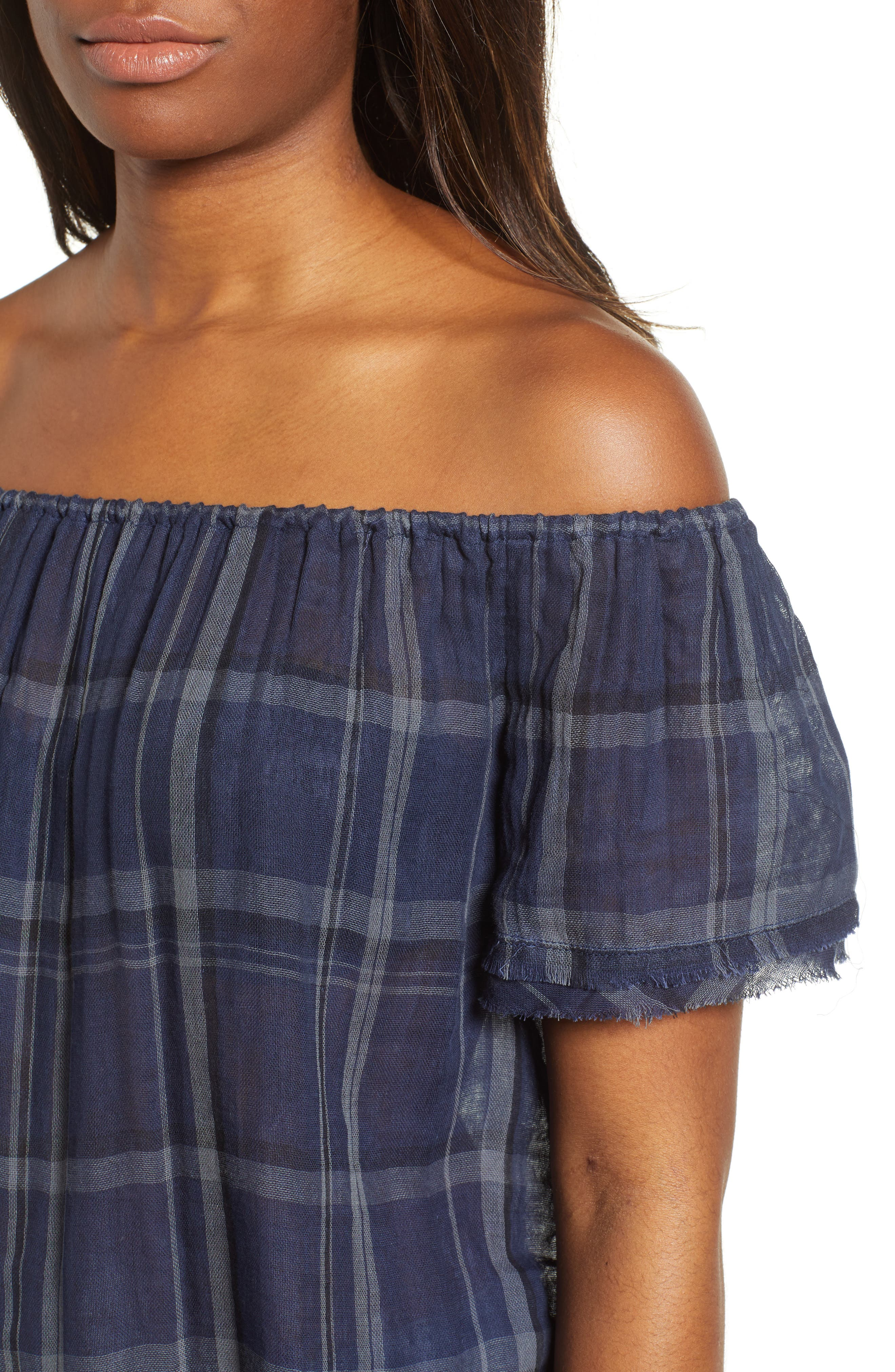 Off Shoulder Plaid Top,                             Alternate thumbnail 4, color,                             460