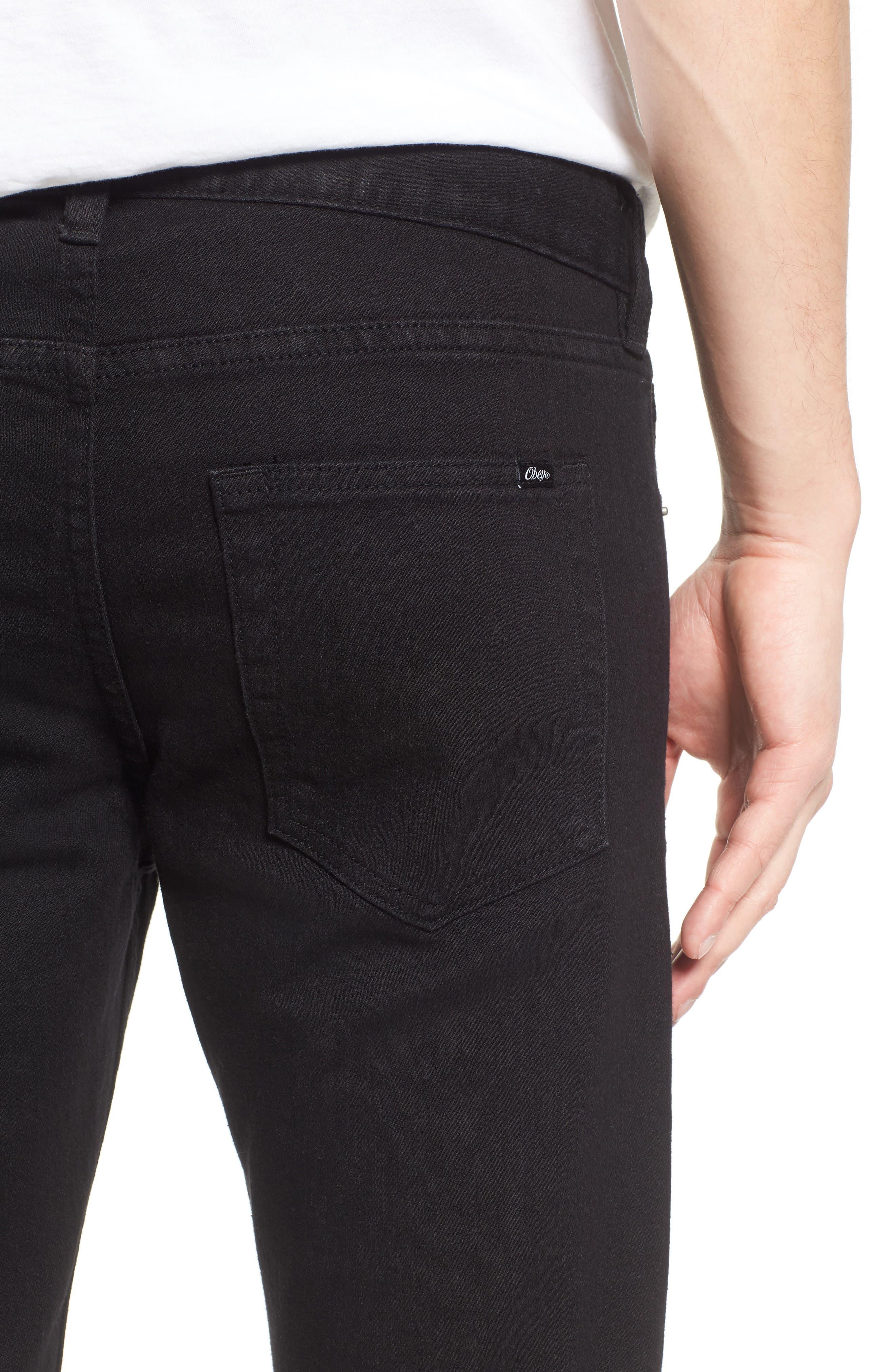Juvee II Flooded Skinny Fit Jeans,                             Alternate thumbnail 4, color,                             001