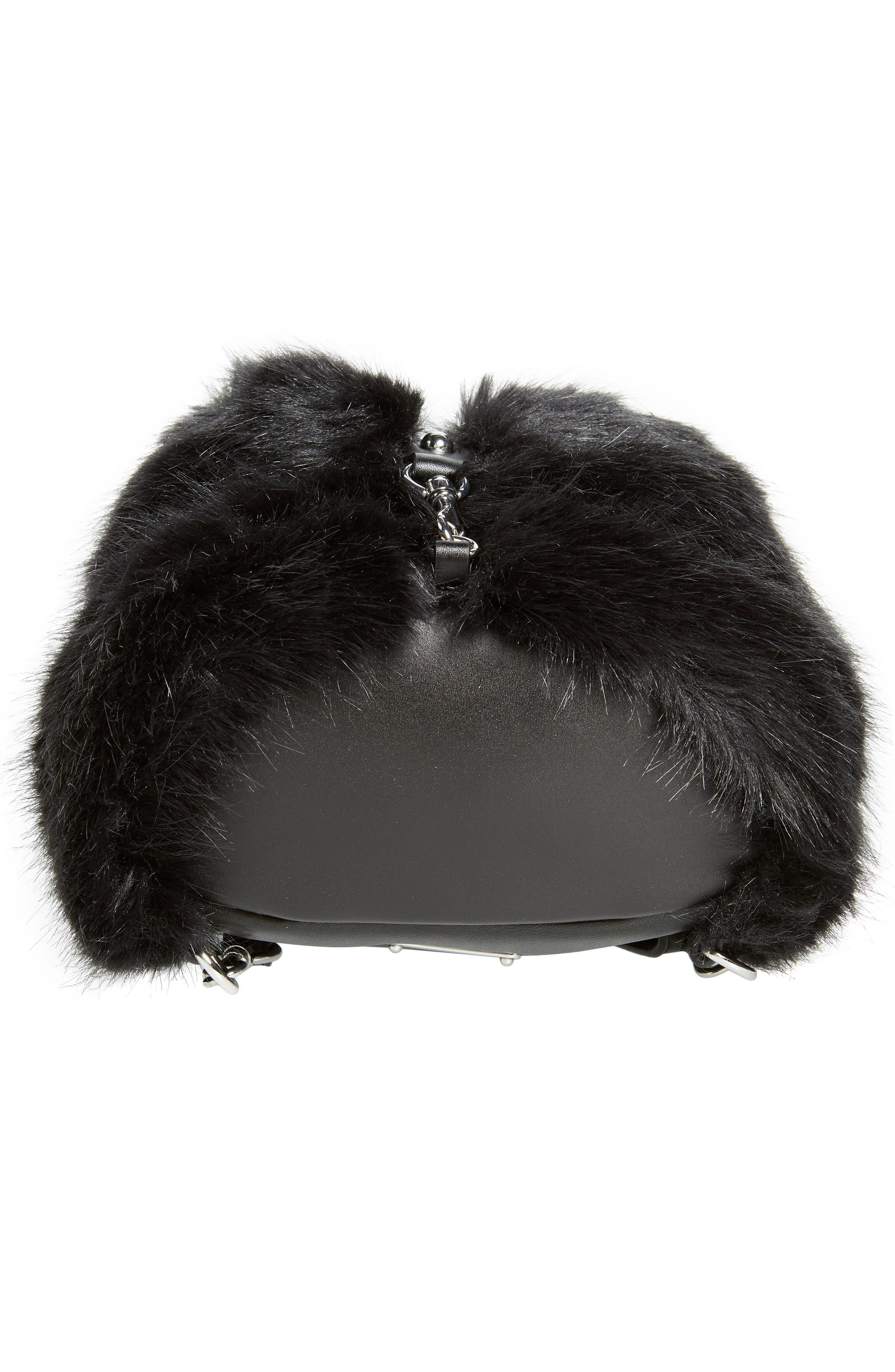 Mini Julian Faux Fur Backpack,                             Alternate thumbnail 7, color,                             BLACK