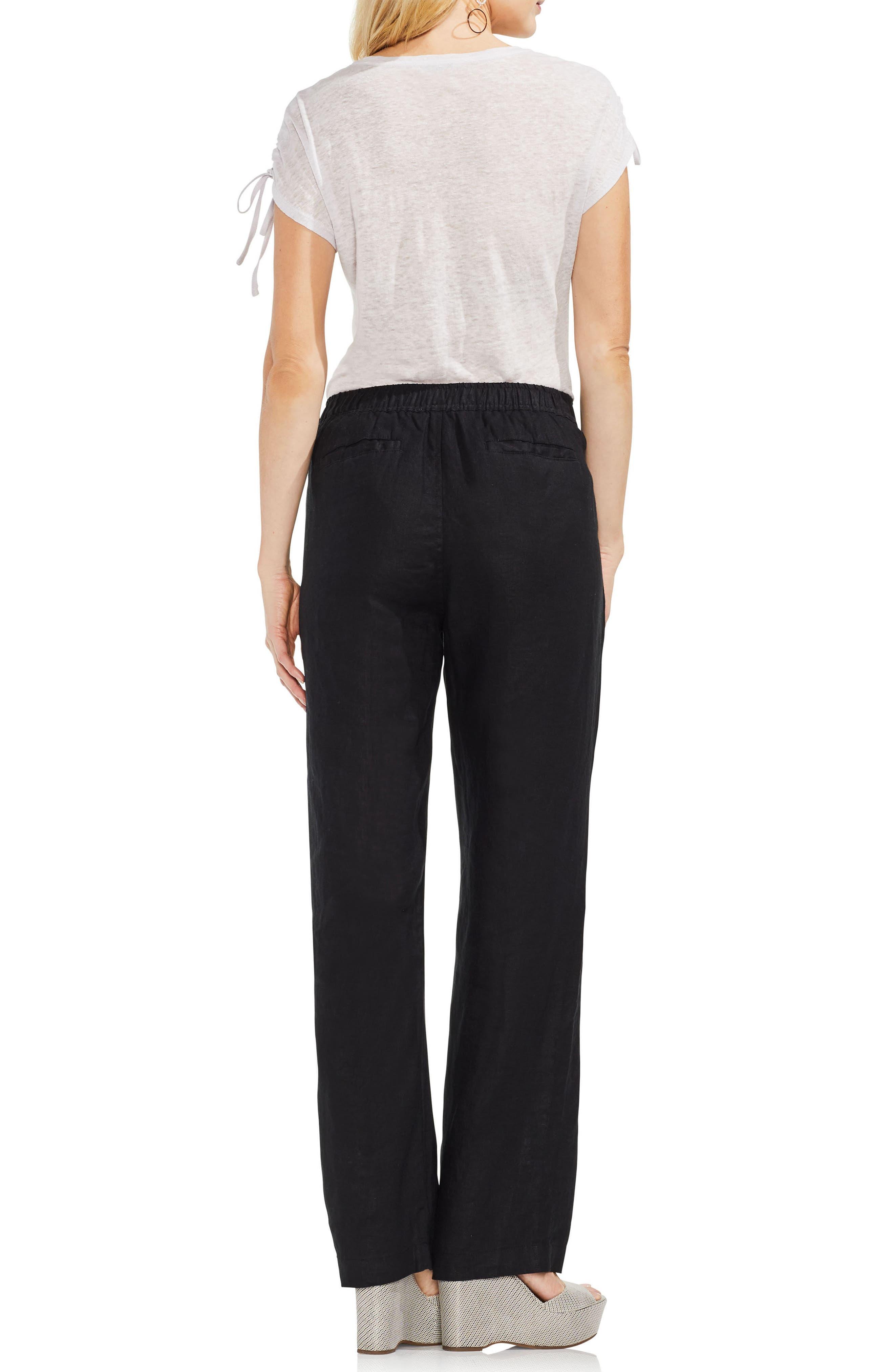 Wide Leg Linen Pants,                             Alternate thumbnail 3, color,                             RICH BLACK