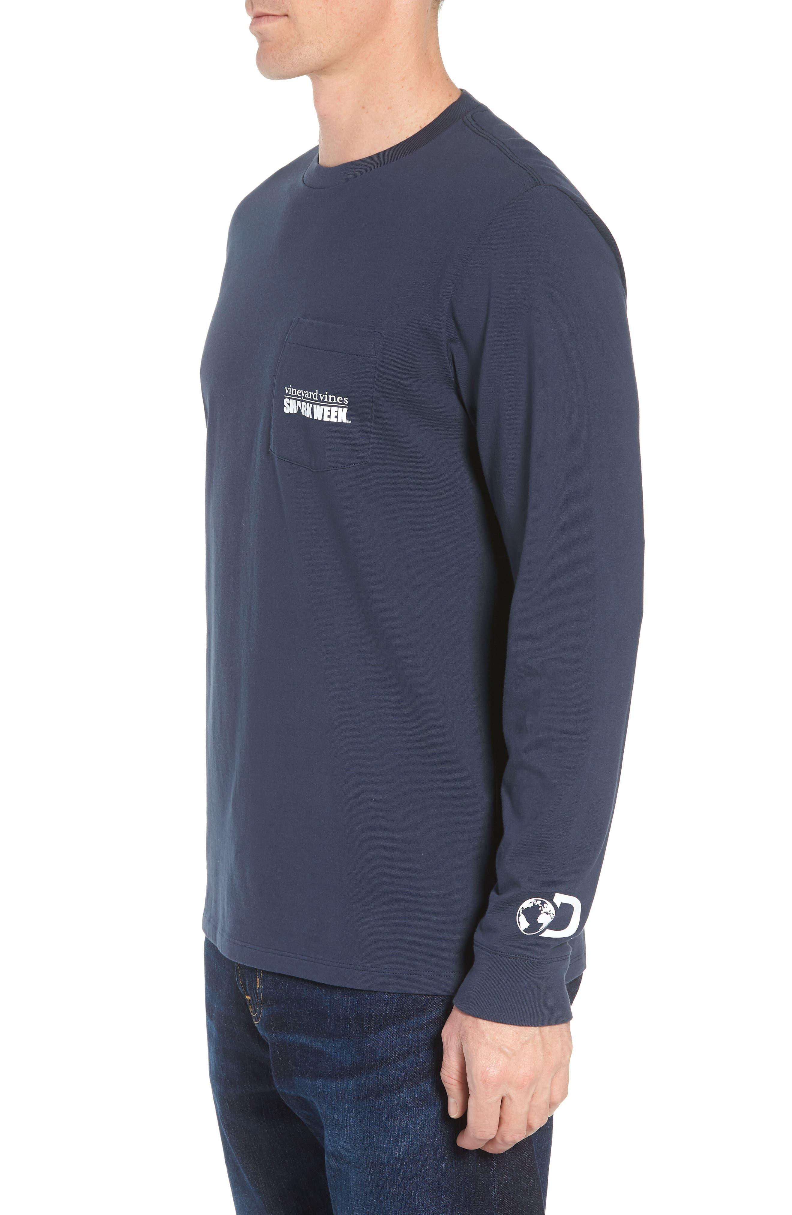 x Shark Week<sup>™</sup> Logo Long Sleeve Pocket T-Shirt,                             Alternate thumbnail 3, color,                             406