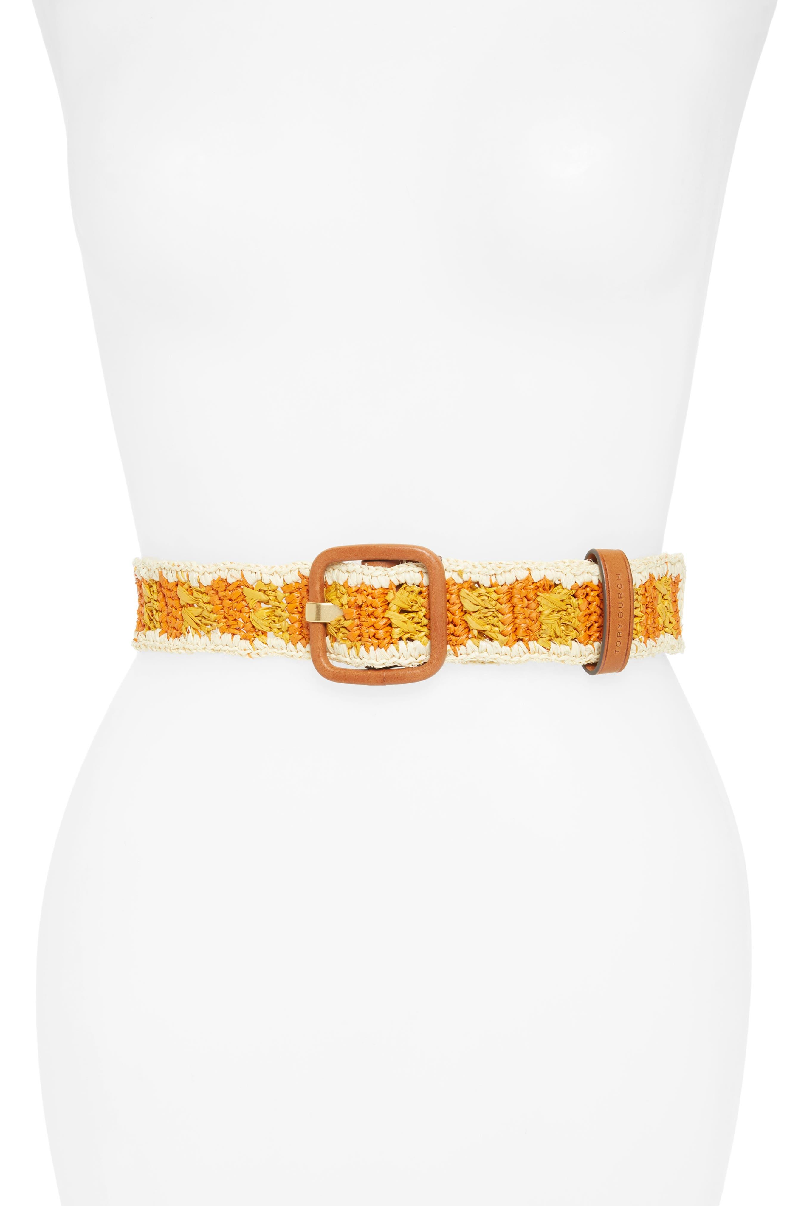 Tory Burch Woven Raffia Belt, Natural/ Daylily/ Orange