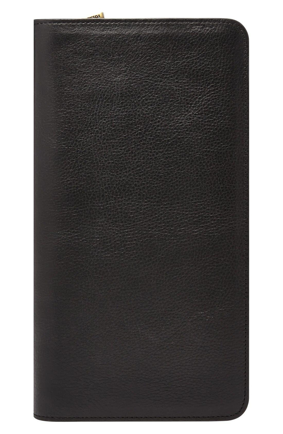 Leather Zip Passport Case,                         Main,                         color, BLACK
