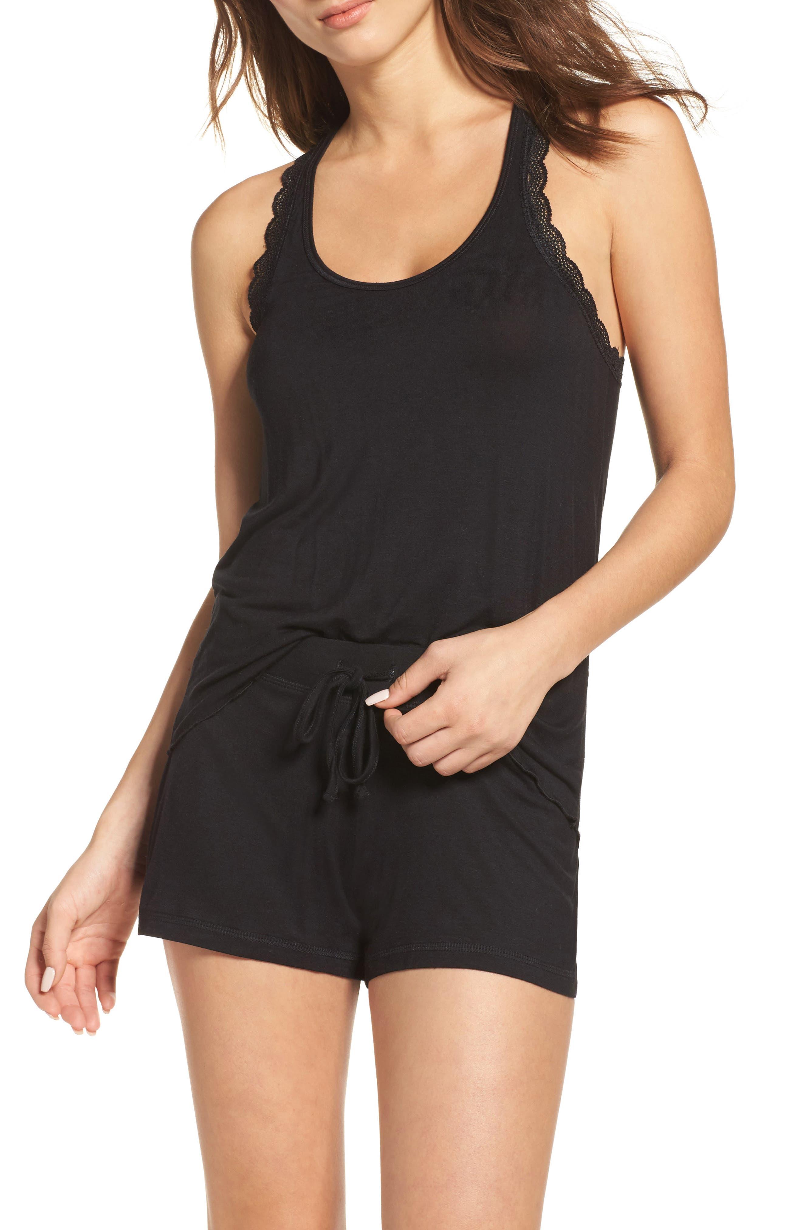 All American Shortie Pajamas,                         Main,                         color, BLACK