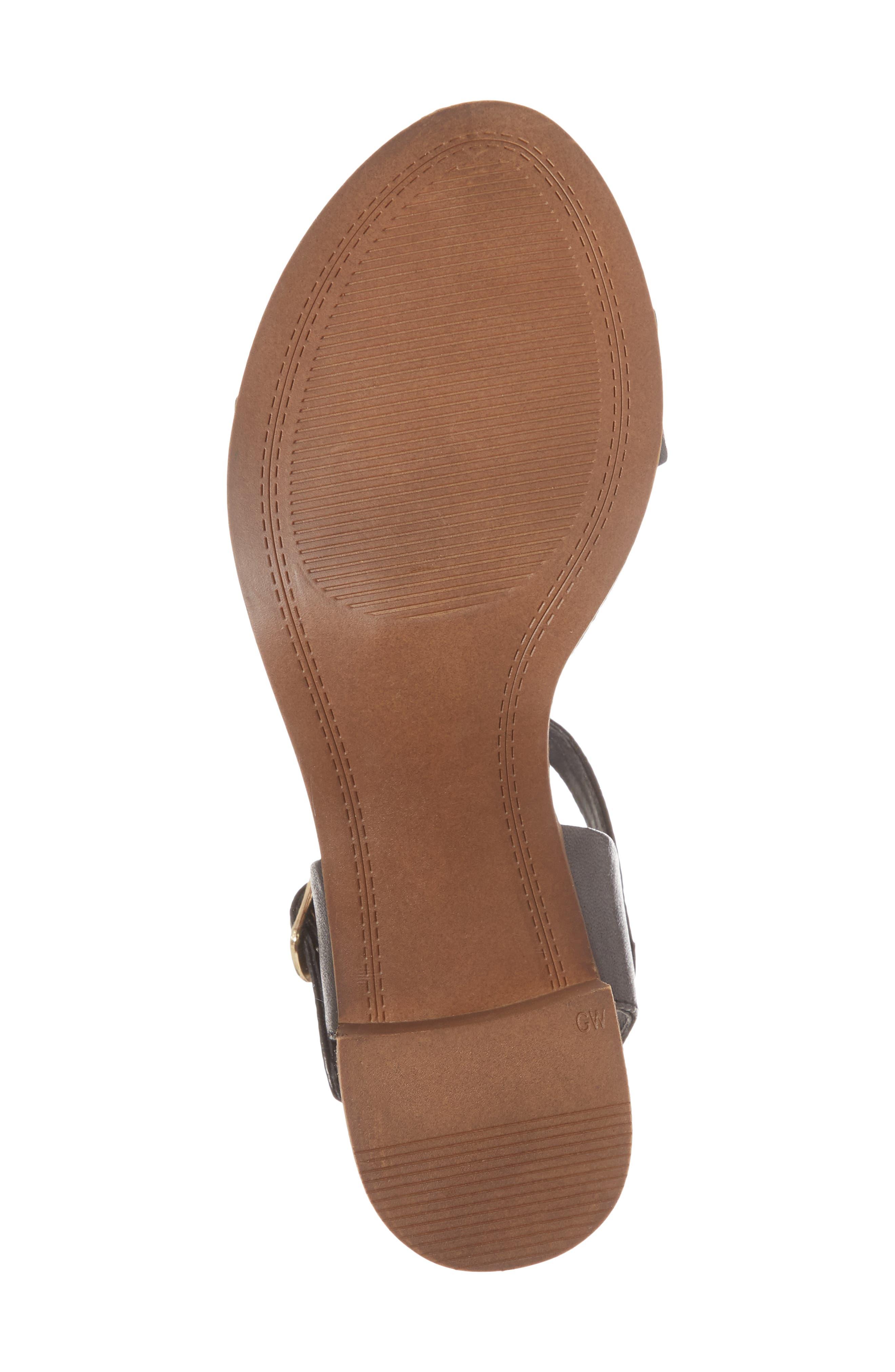 April Block Heel Sandal,                             Alternate thumbnail 6, color,                             BLACK LEATHER
