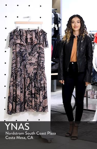 Boa Print Off the Shoulder Midi Dress, sales video thumbnail