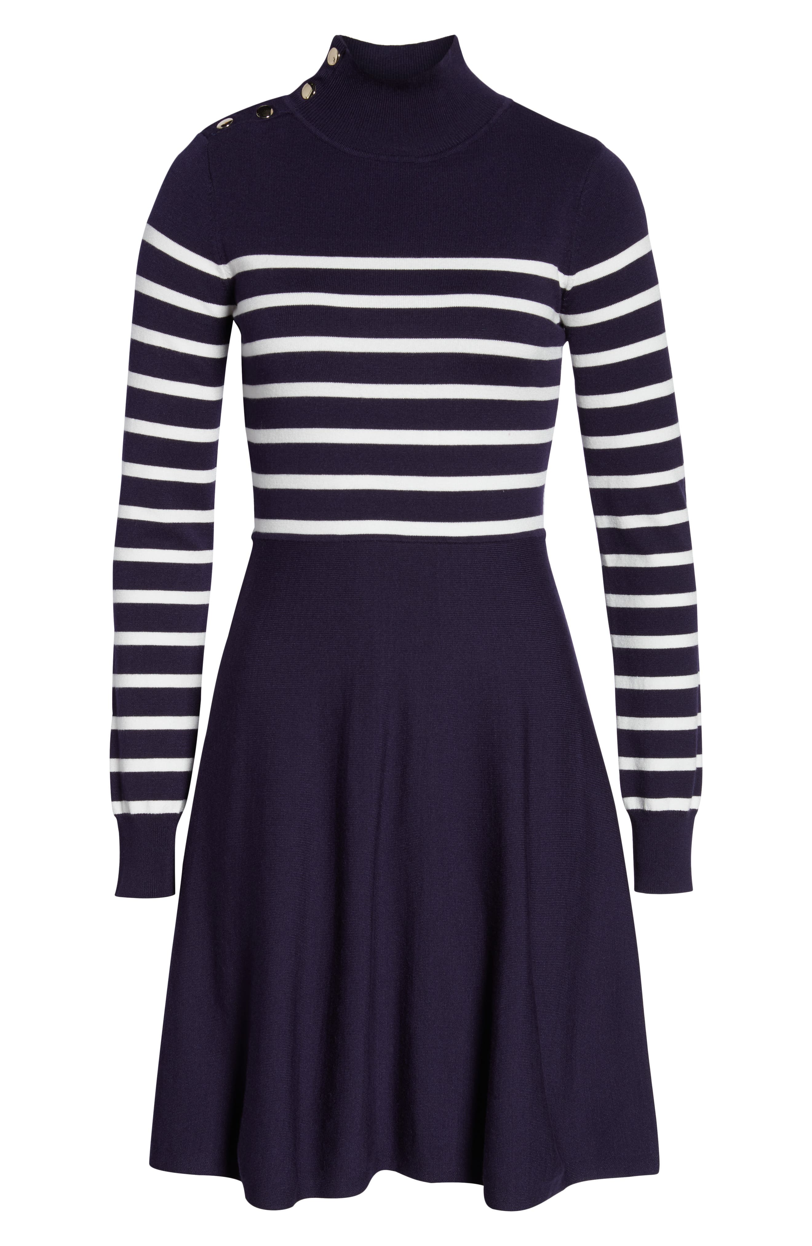 Stripe Mock Neck Fit & Flare Dress,                             Alternate thumbnail 6, color,                             NAVY