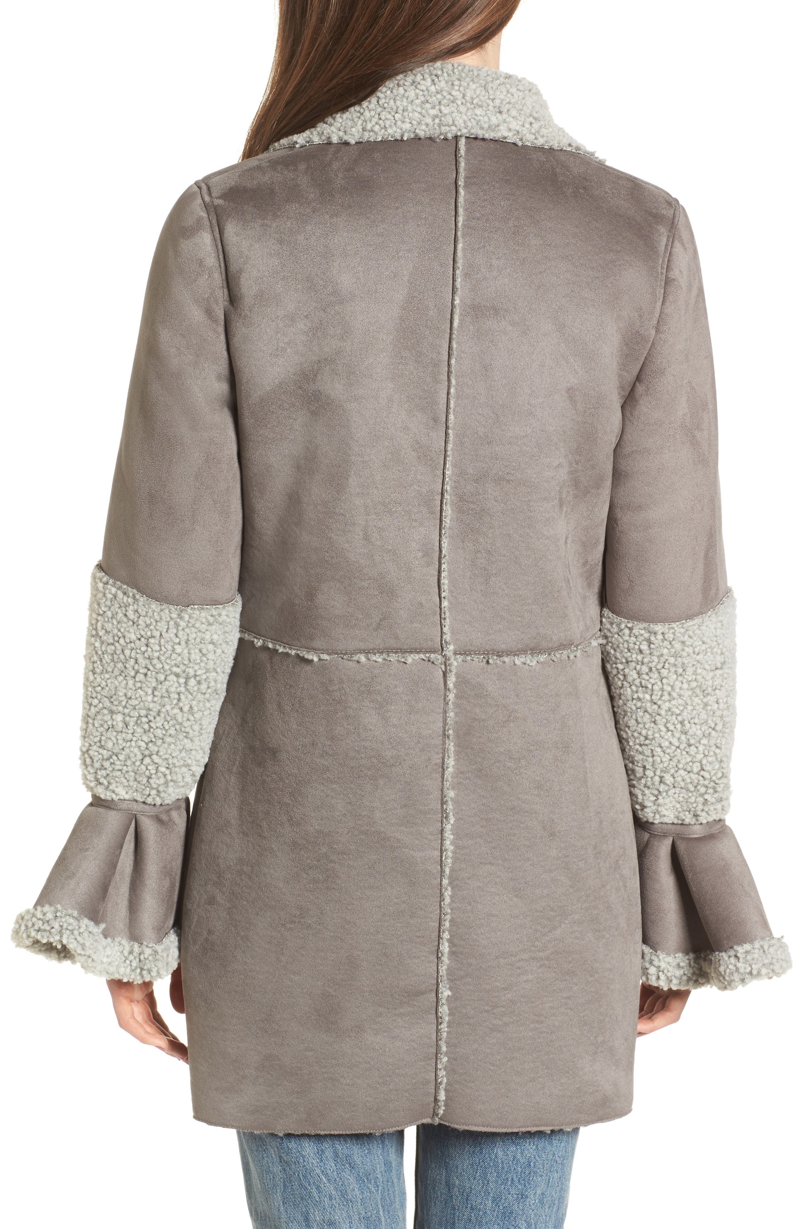 LOST INK,                             Faux Shearling Coat,                             Alternate thumbnail 2, color,                             020