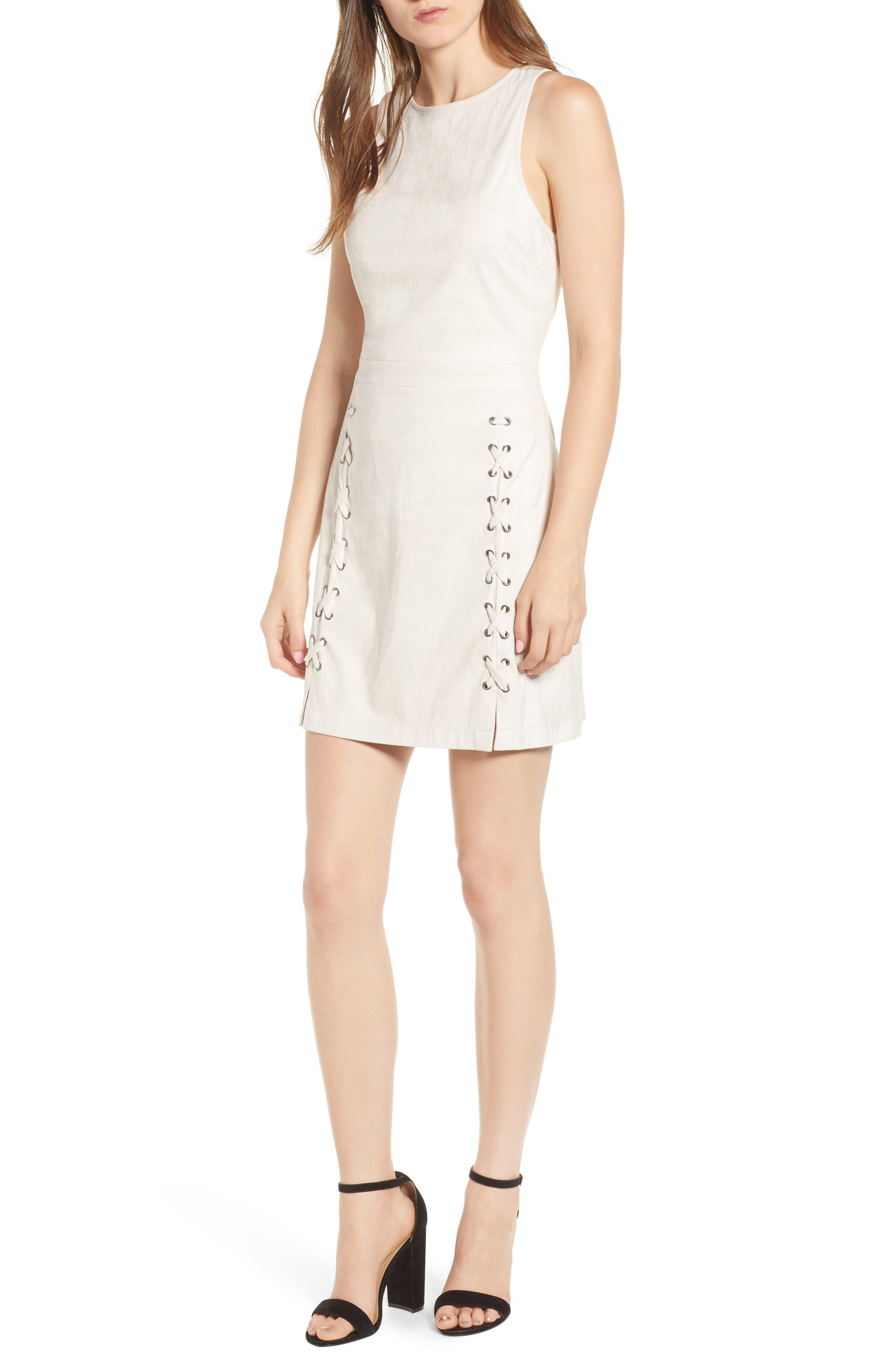 Daton Faux Suede Dress,                         Main,                         color, SOFT BEIGE
