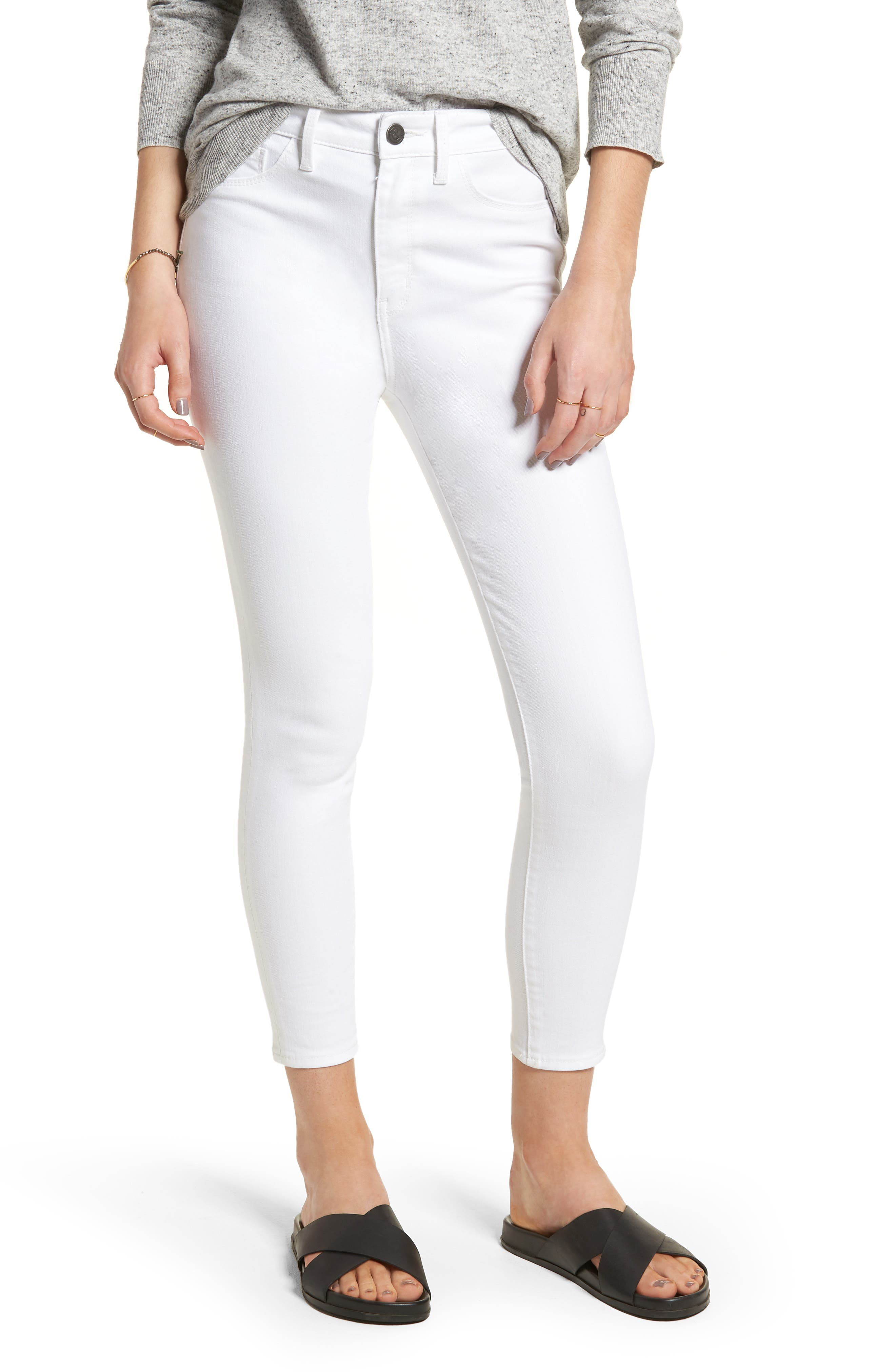 Charity High Waist Crop Skinny Jeans,                         Main,                         color, 100