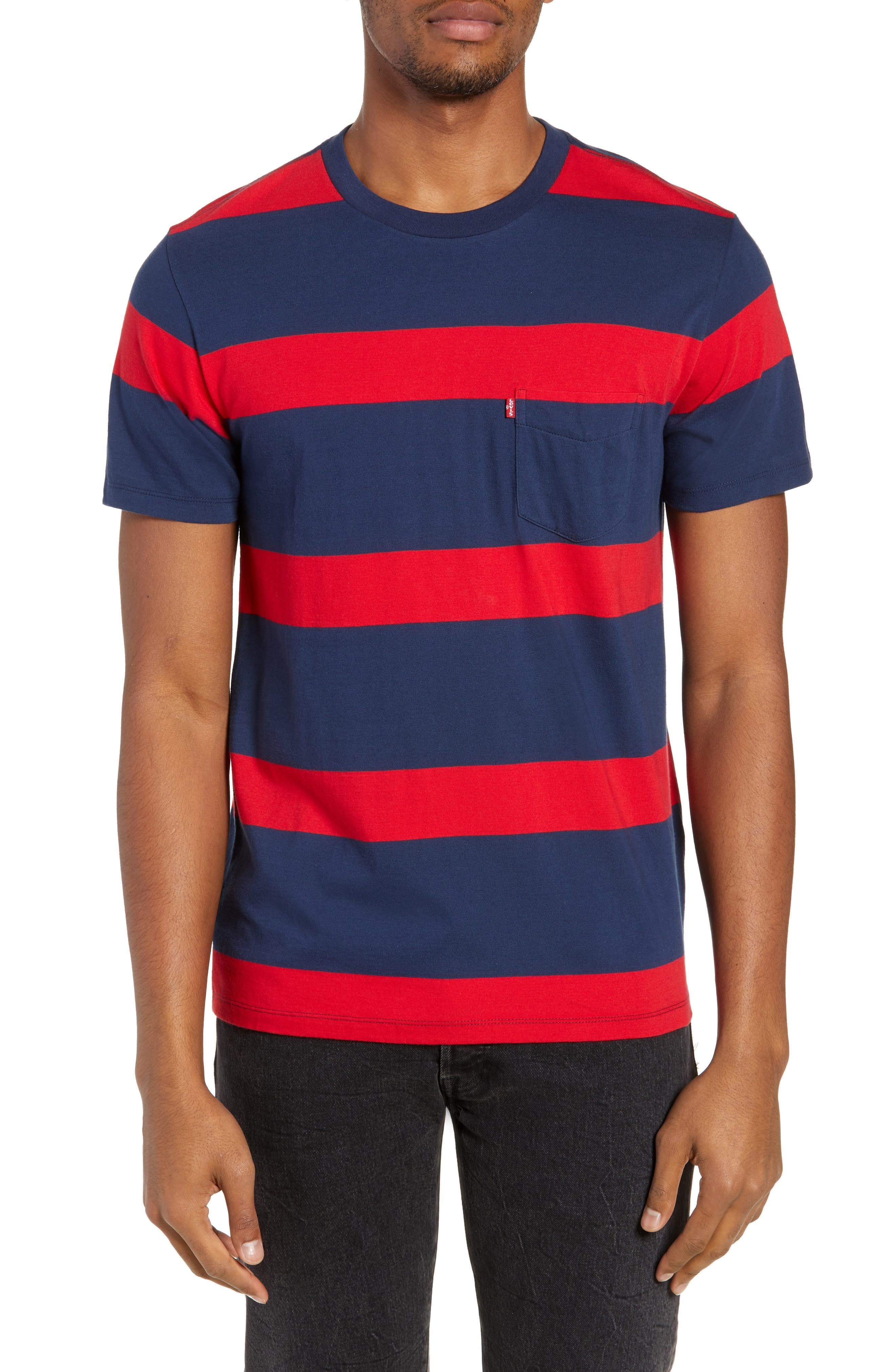 Stripe Pocket T-Shirt,                             Main thumbnail 1, color,                             DRESS BLUES/ CRIMSON STRIPES