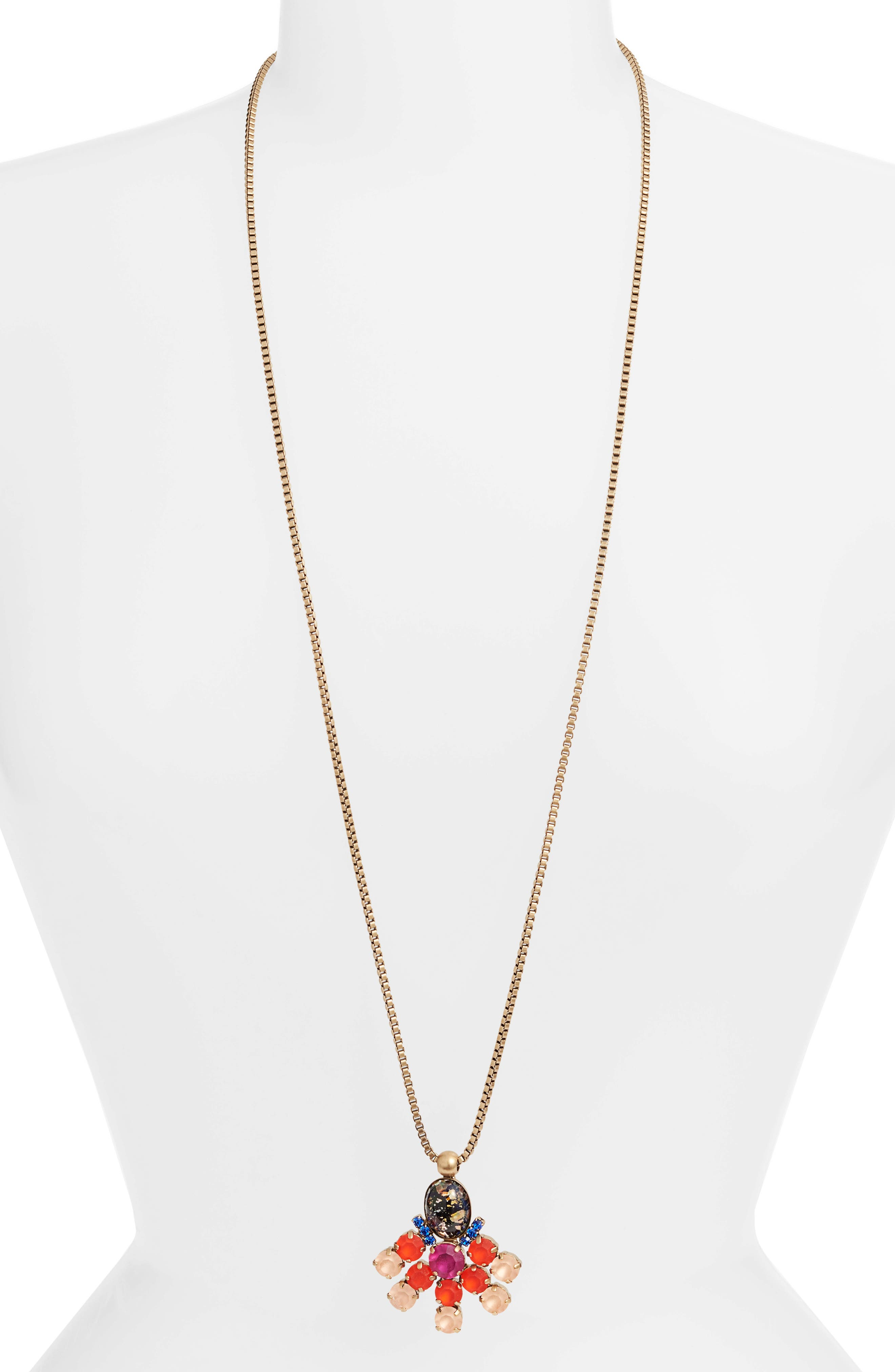 Lucy Long Pendant Necklace,                             Main thumbnail 1, color,                             GOLD MULTI