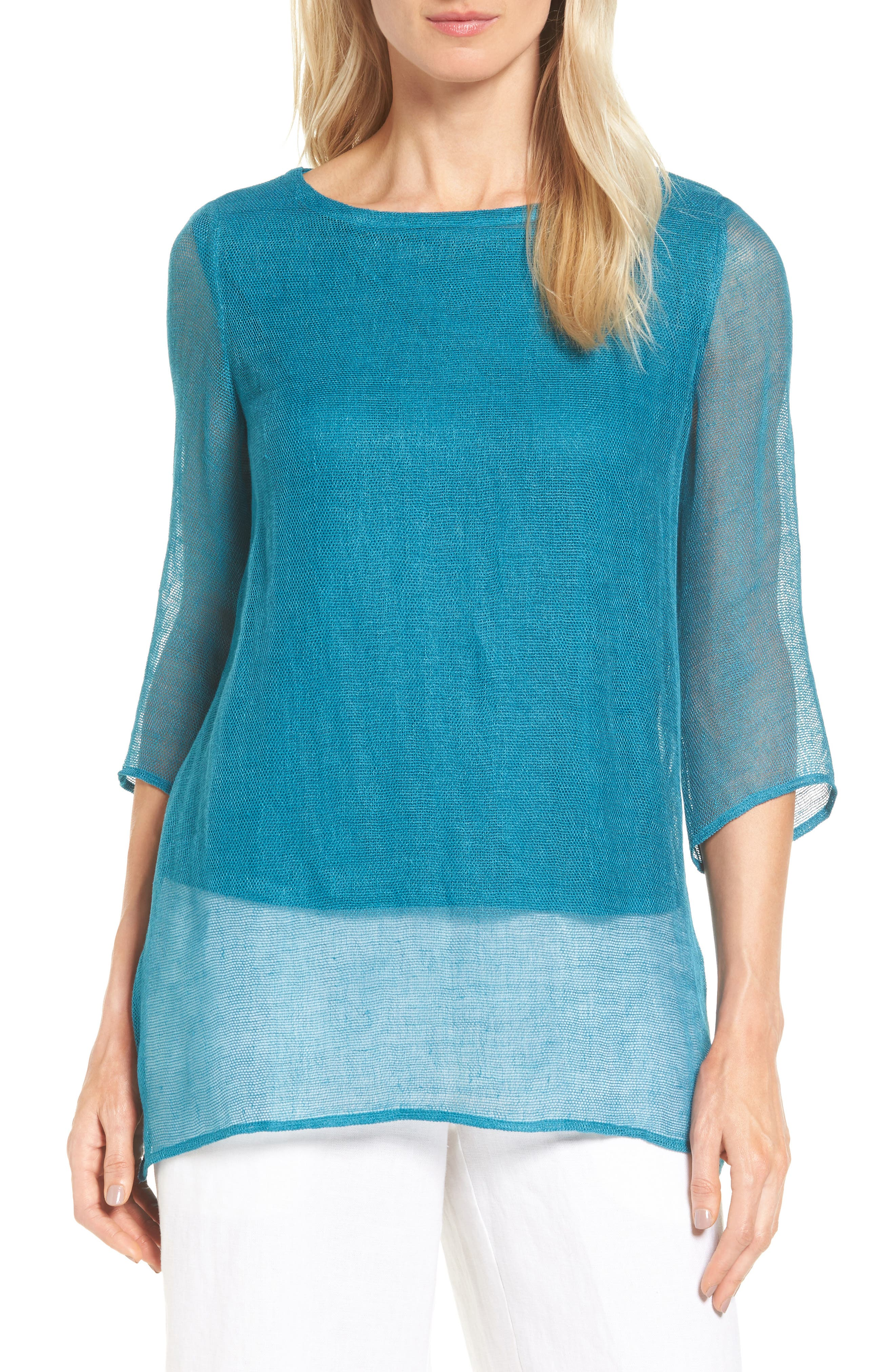 Organic Linen Blend Tunic,                             Main thumbnail 4, color,