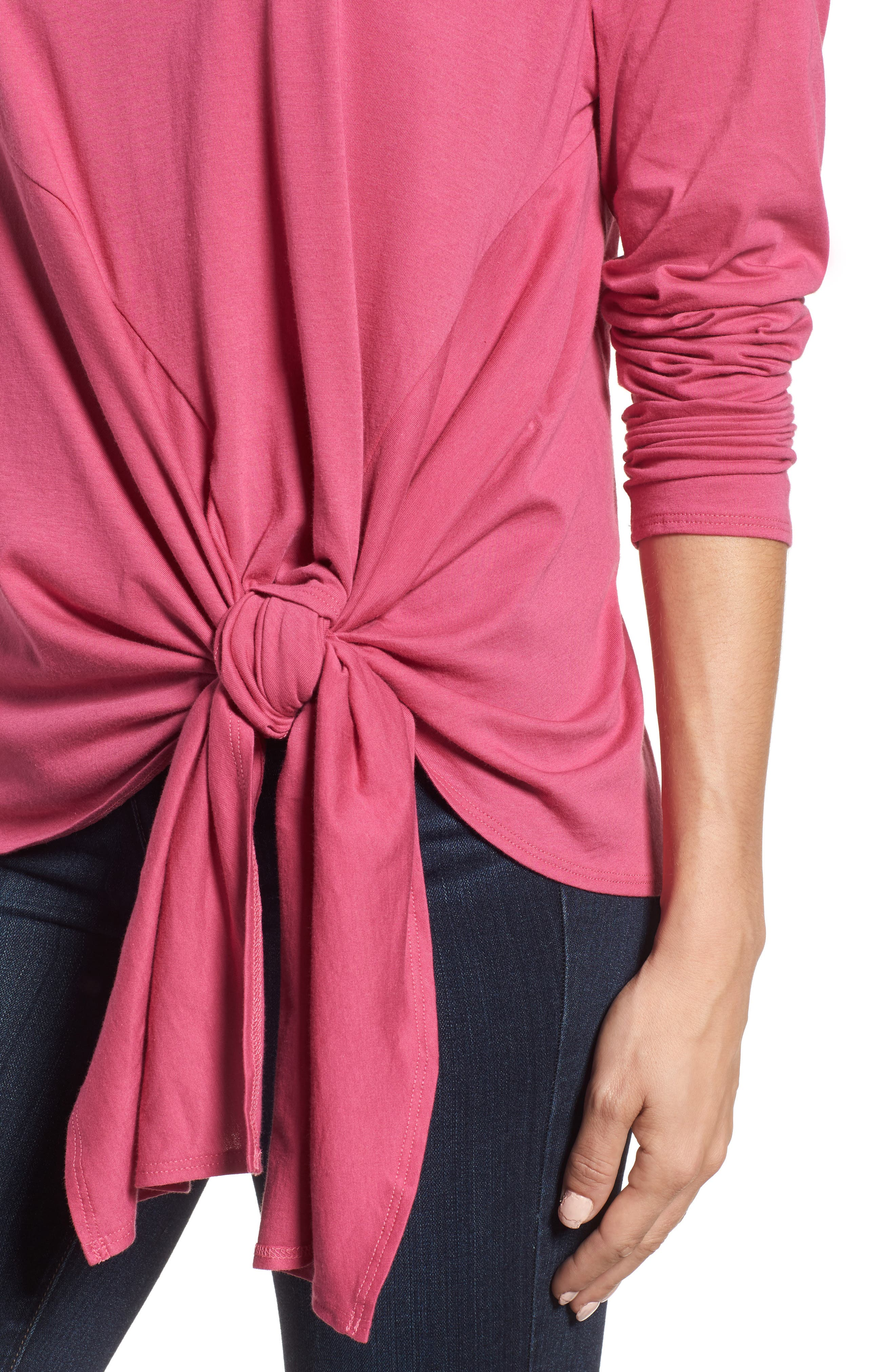 Long Sleeve Side Tie Tee,                             Alternate thumbnail 24, color,