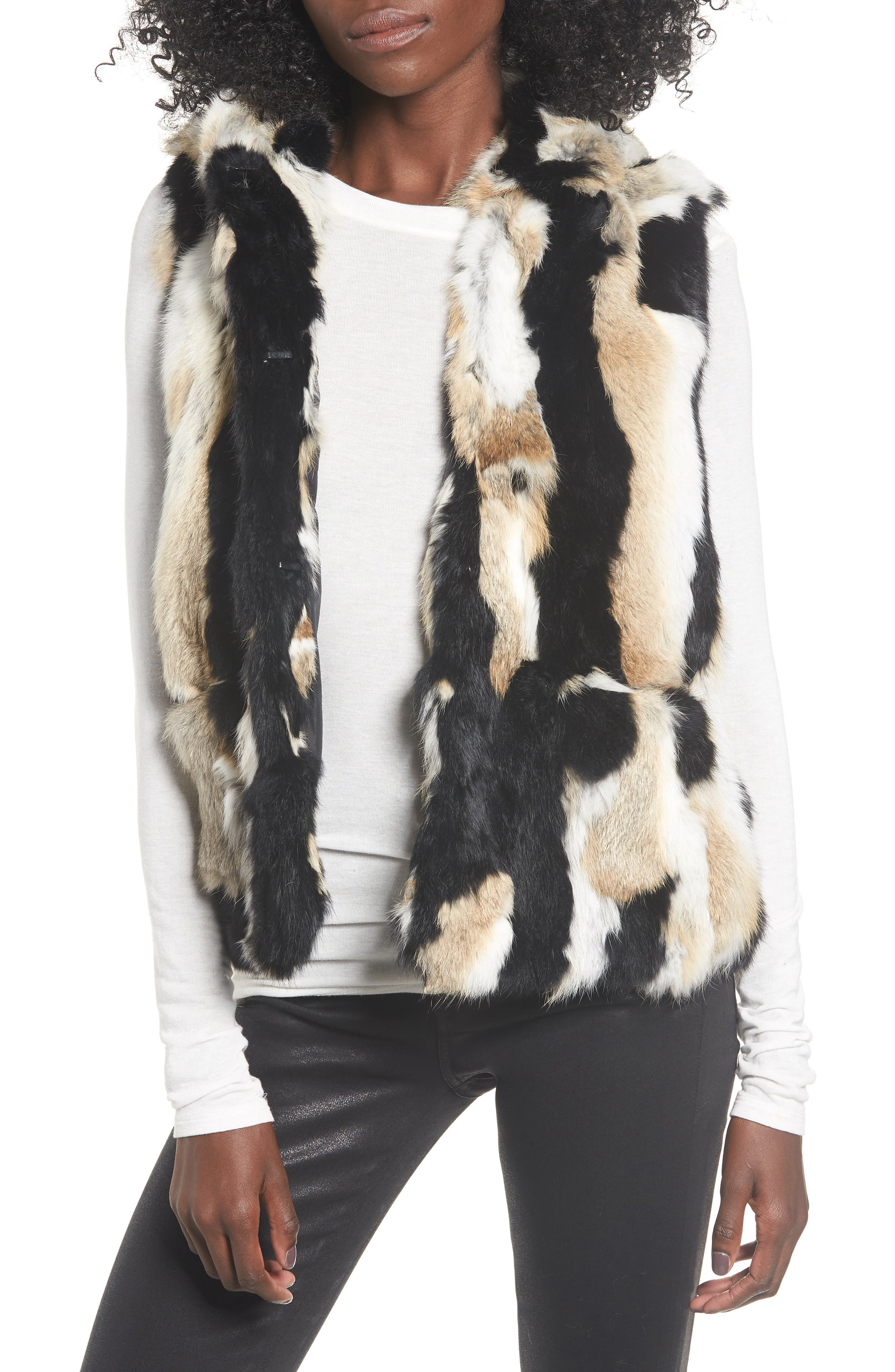Genuine Rabbit Fur Hooded Vest,                             Main thumbnail 1, color,                             BROWN COMBO