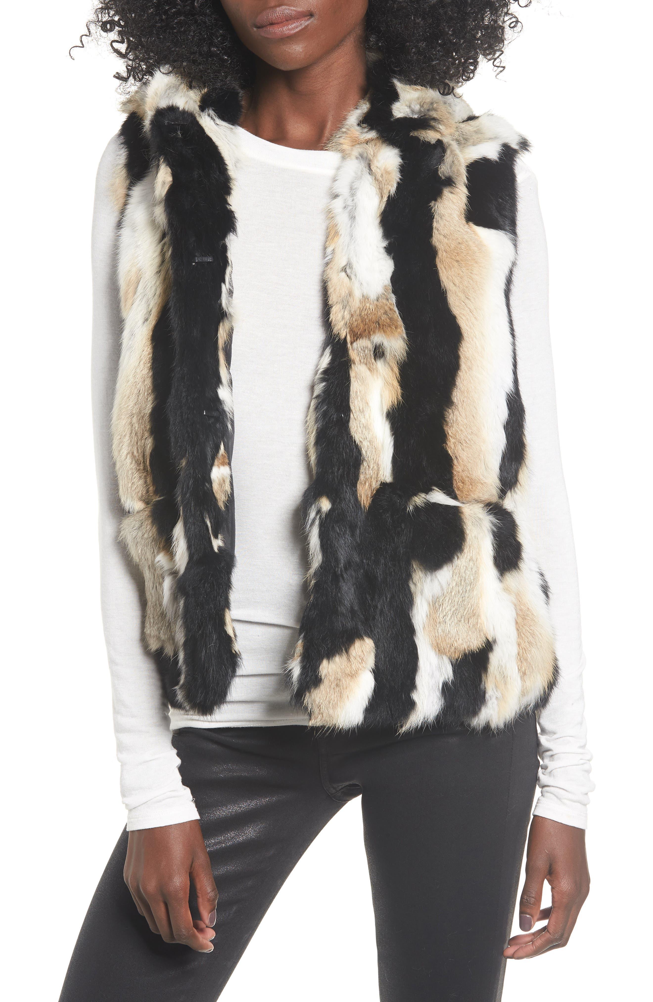 Genuine Rabbit Fur Hooded Vest, Main, color, BROWN COMBO